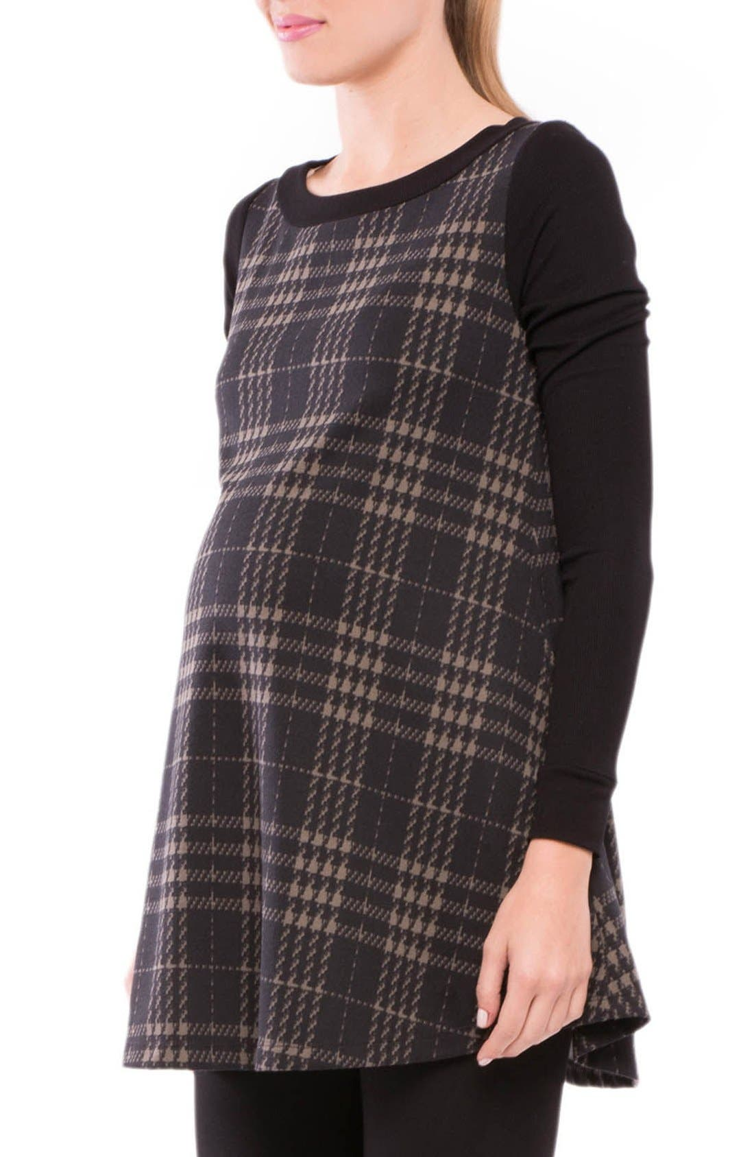 Macy Plaid Maternity Tunic Top,                             Alternate thumbnail 3, color,                             020