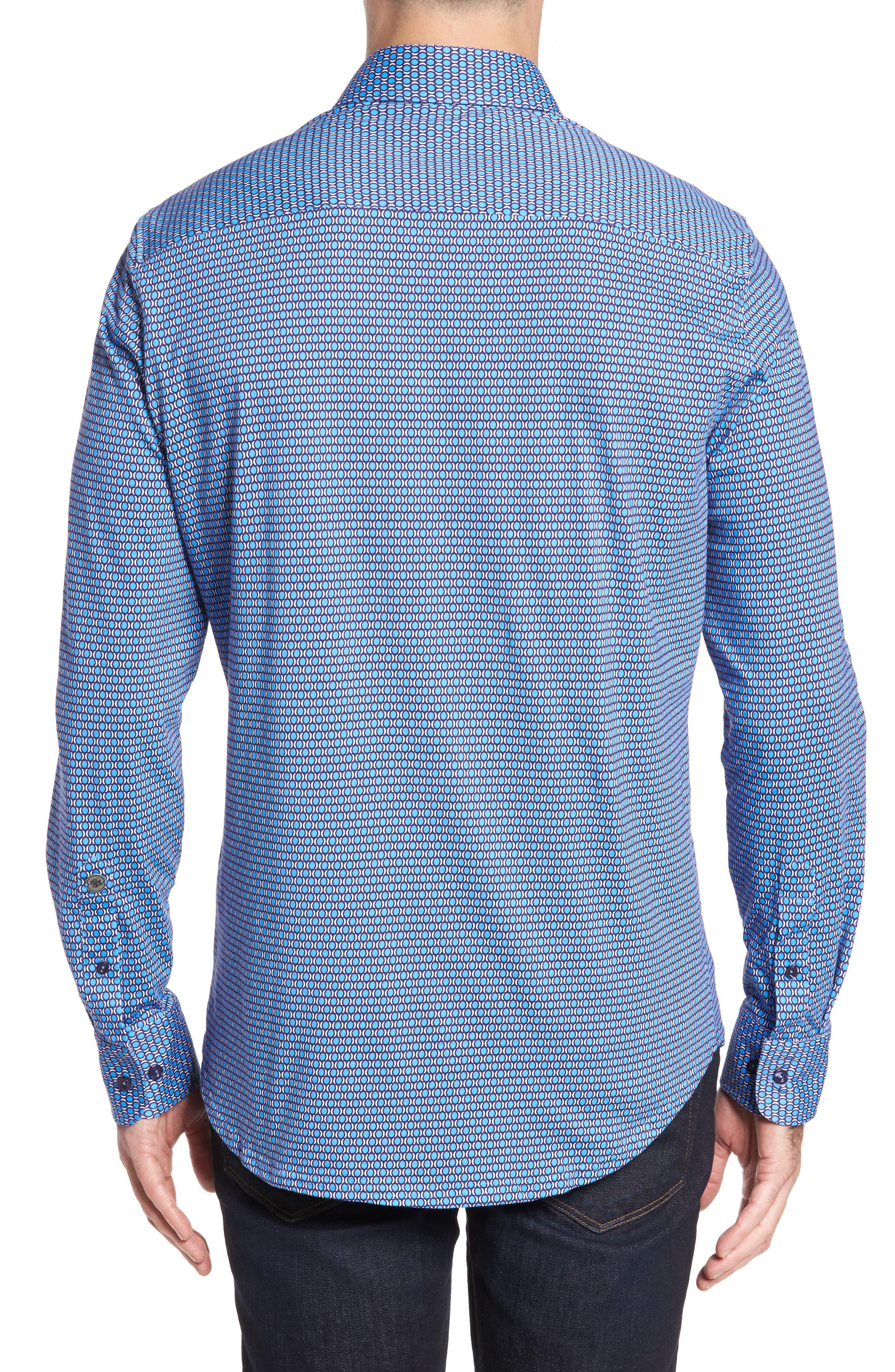 Slim Fit Geo Knit Sport Shirt,                             Alternate thumbnail 2, color,                             430