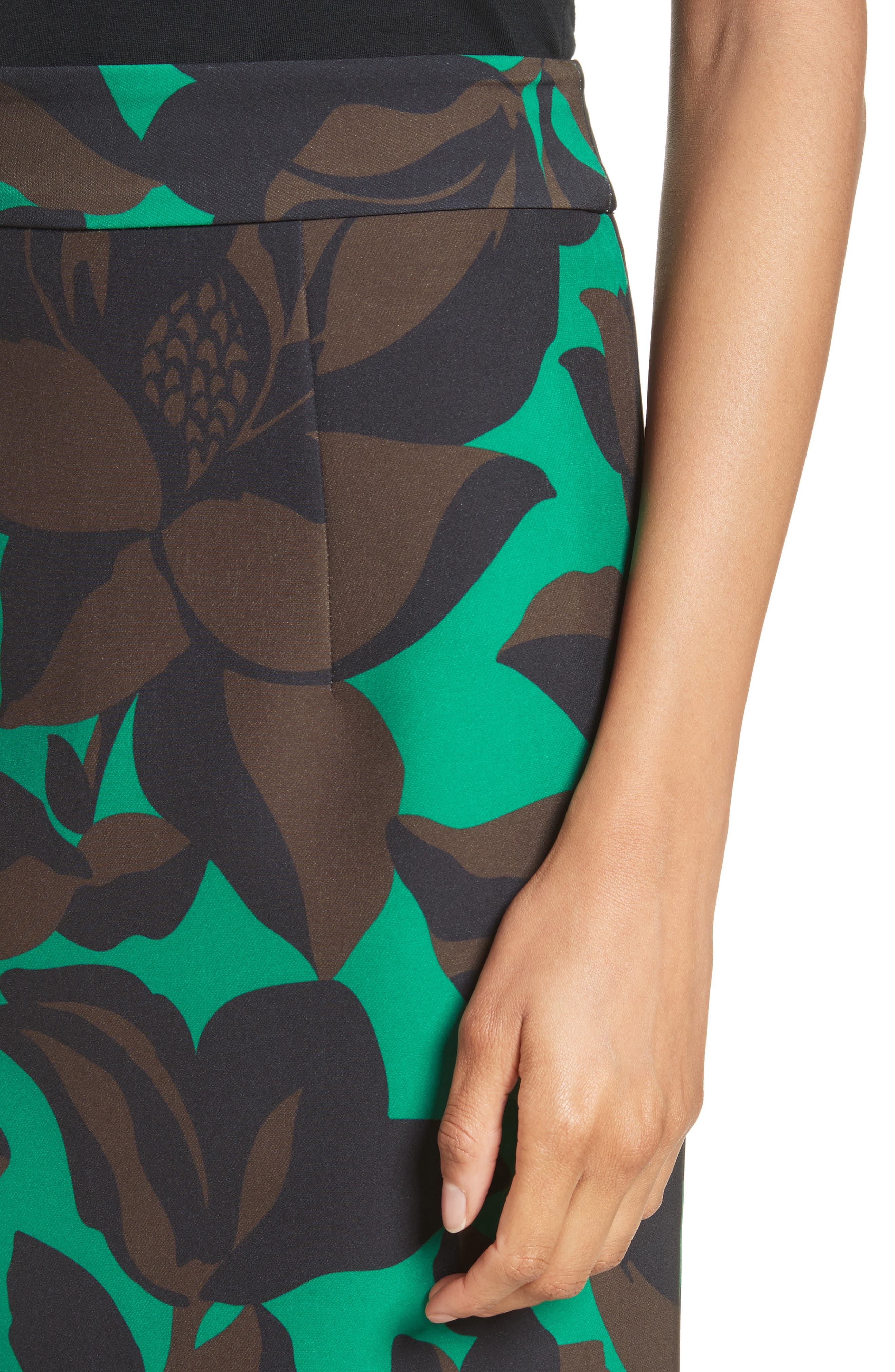 Classic Floral Print Midi Skirt,                             Alternate thumbnail 4, color,                             301