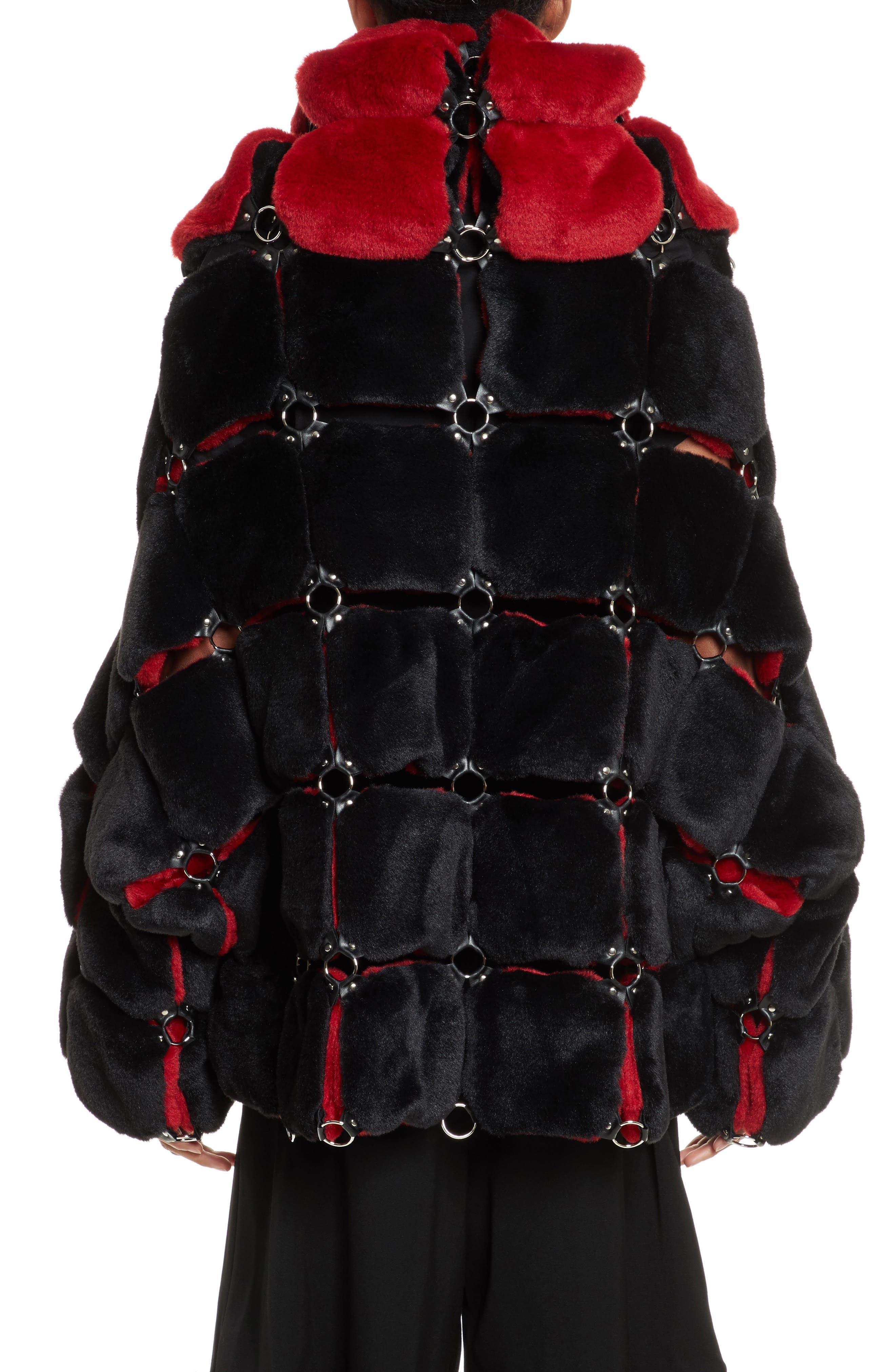 Faux Fur Coat with Chain Mail Detail,                             Alternate thumbnail 2, color,                             005