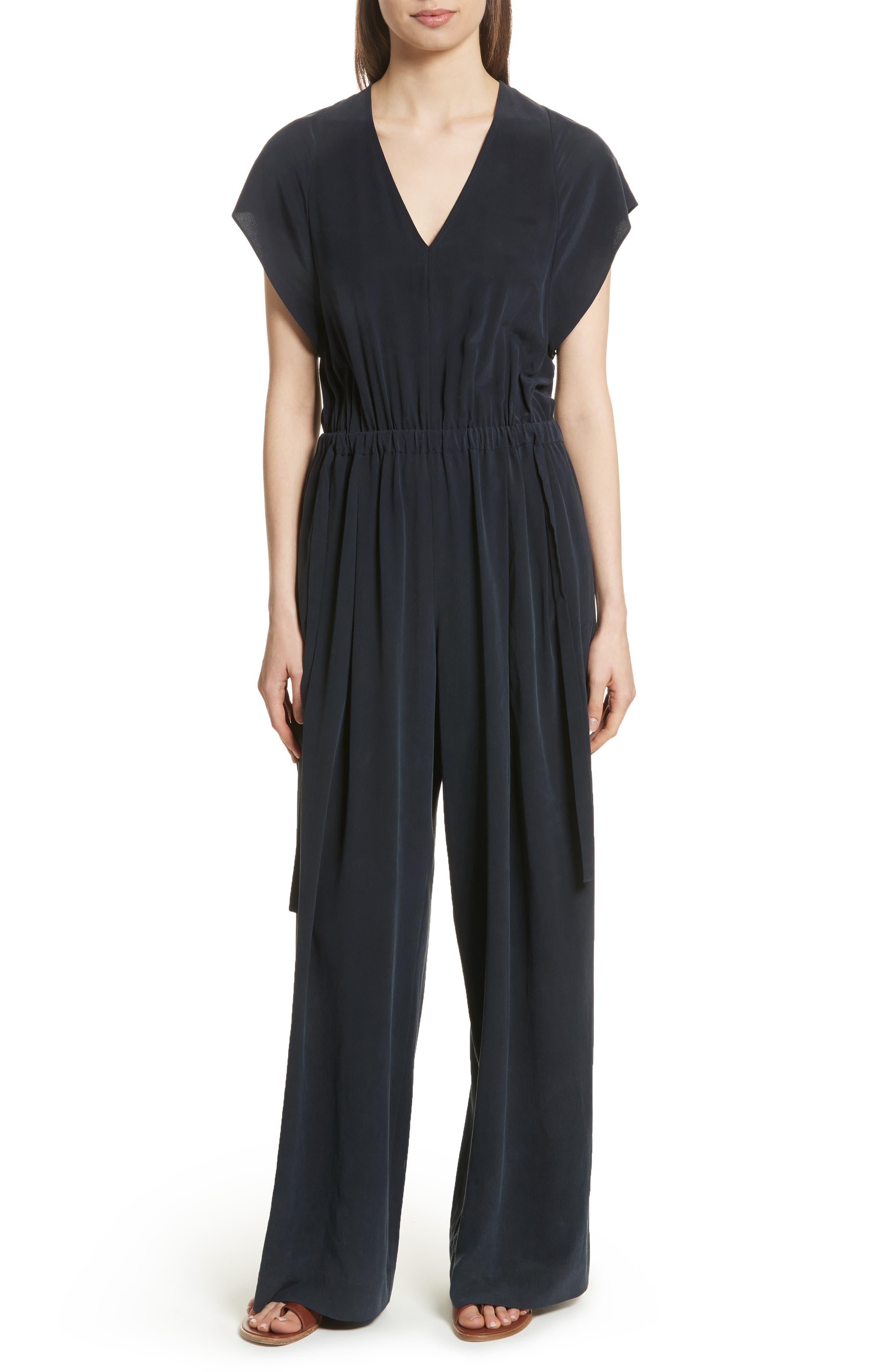 Flutter Sleeve Open Back Silk Jumpsuit,                         Main,                         color, 403