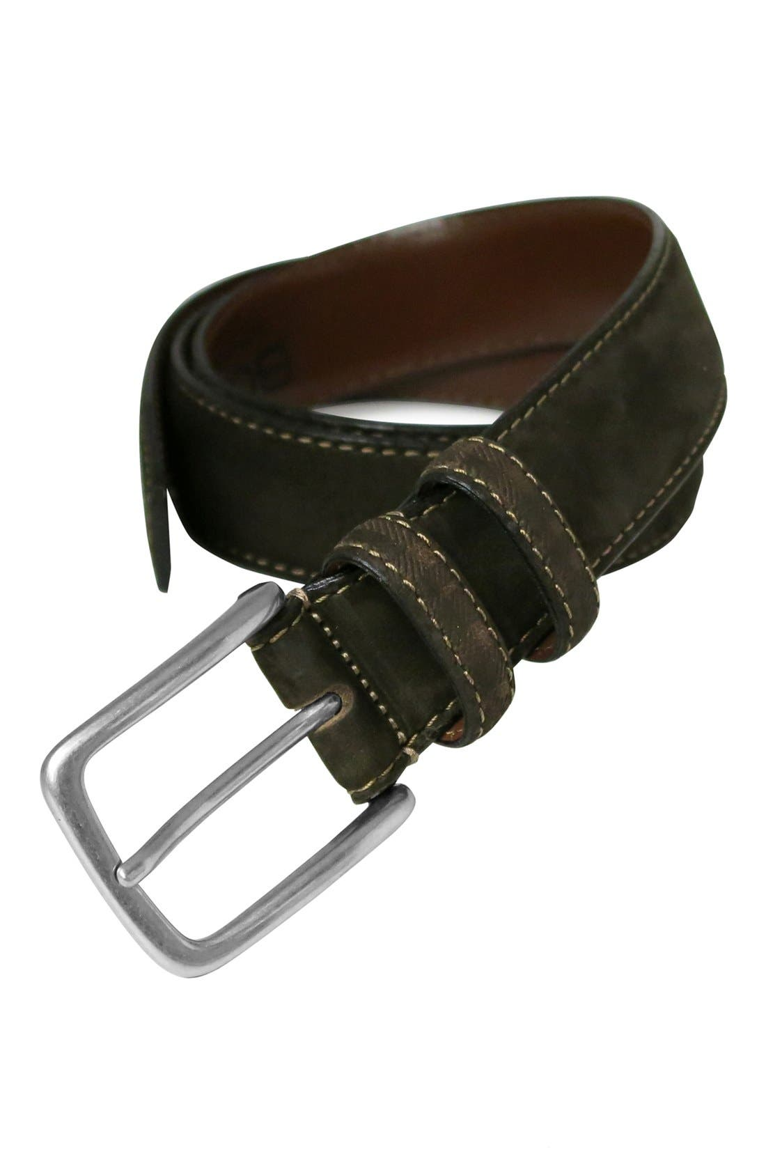 'Tyler' Double Stitched Suede Belt,                             Alternate thumbnail 5, color,                             BROWN