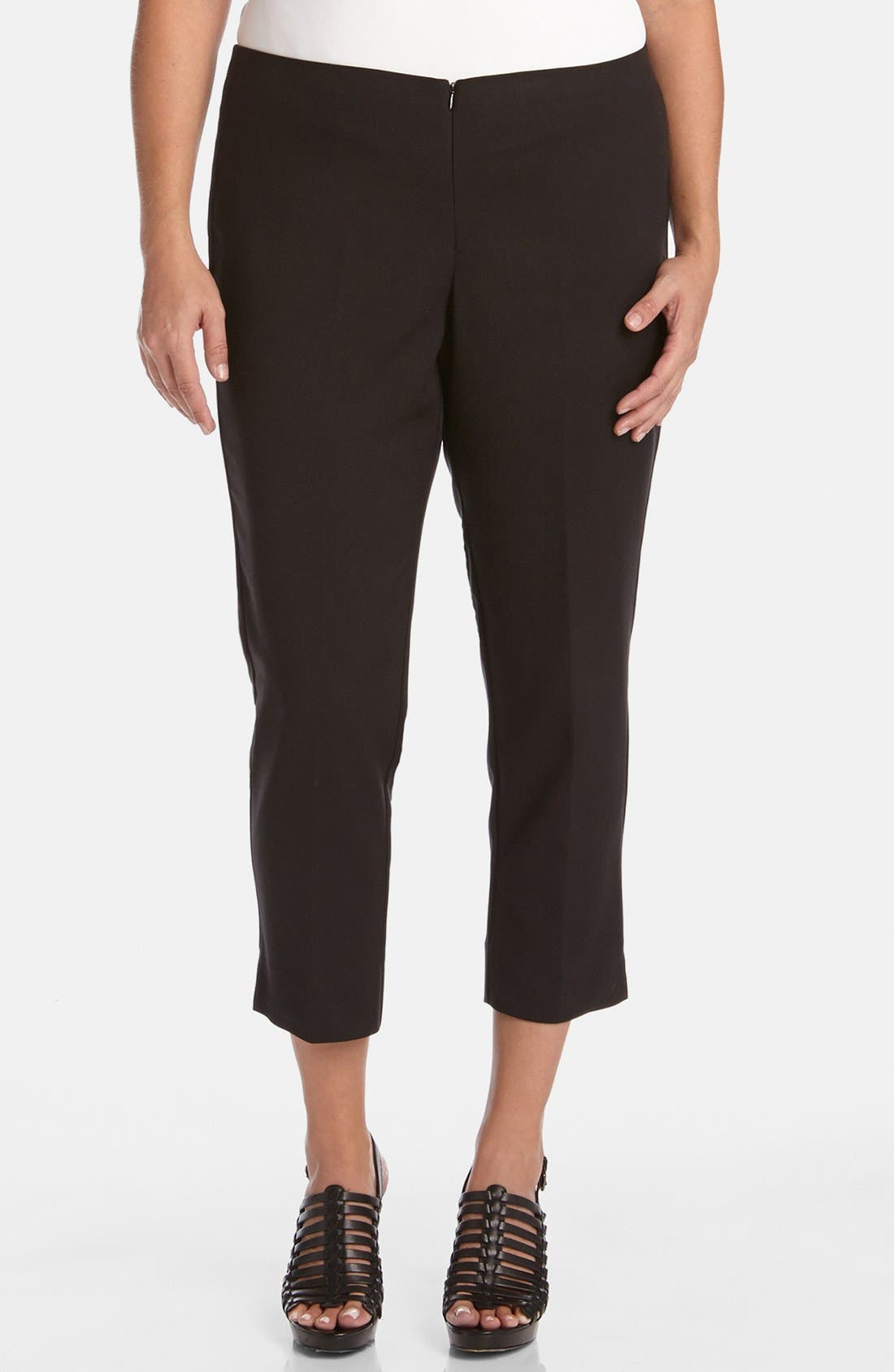 Stretch Capri Pants,                         Main,                         color, BLACK