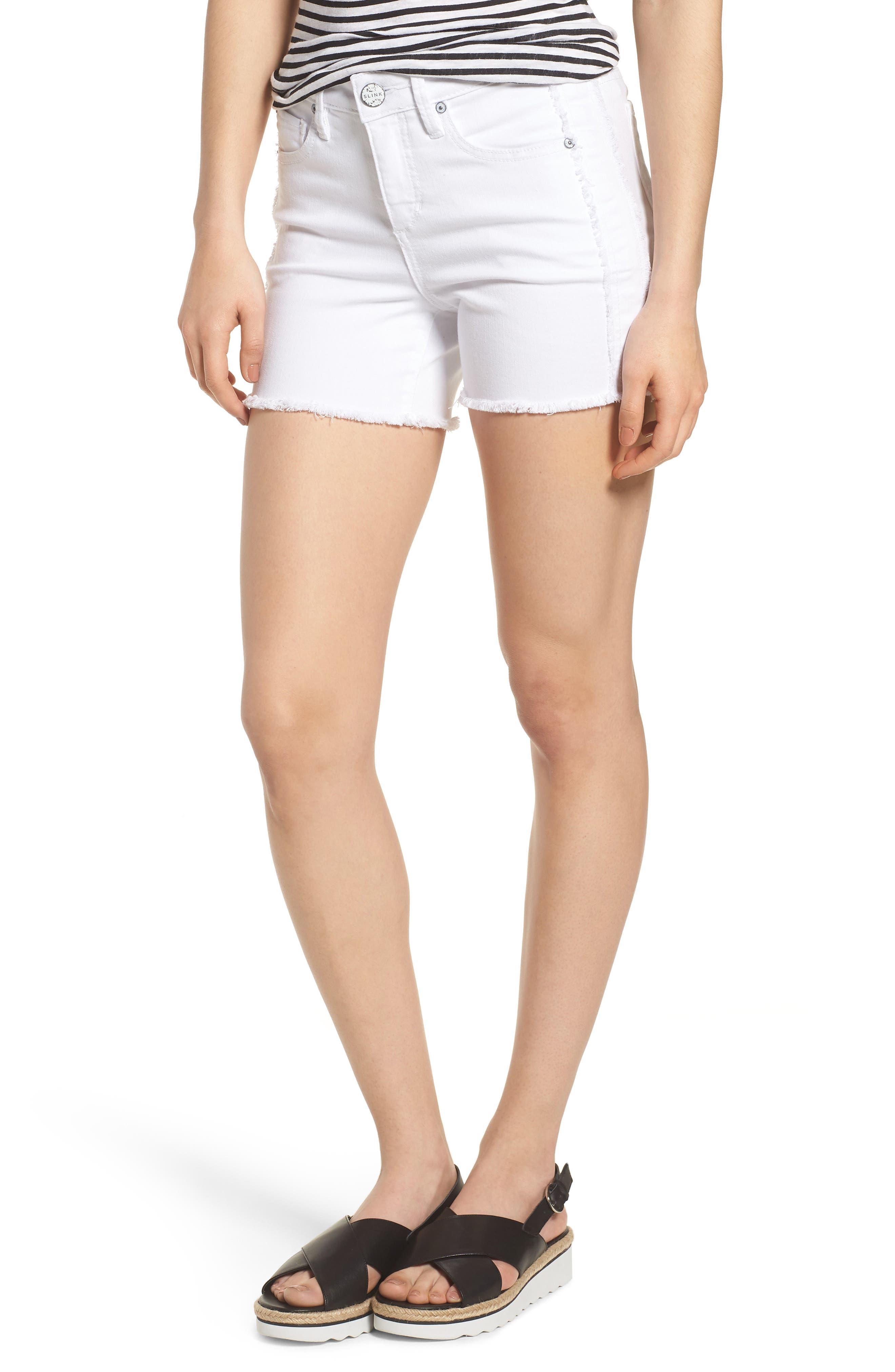 Tux Frayed Denim Shorts,                             Main thumbnail 1, color,