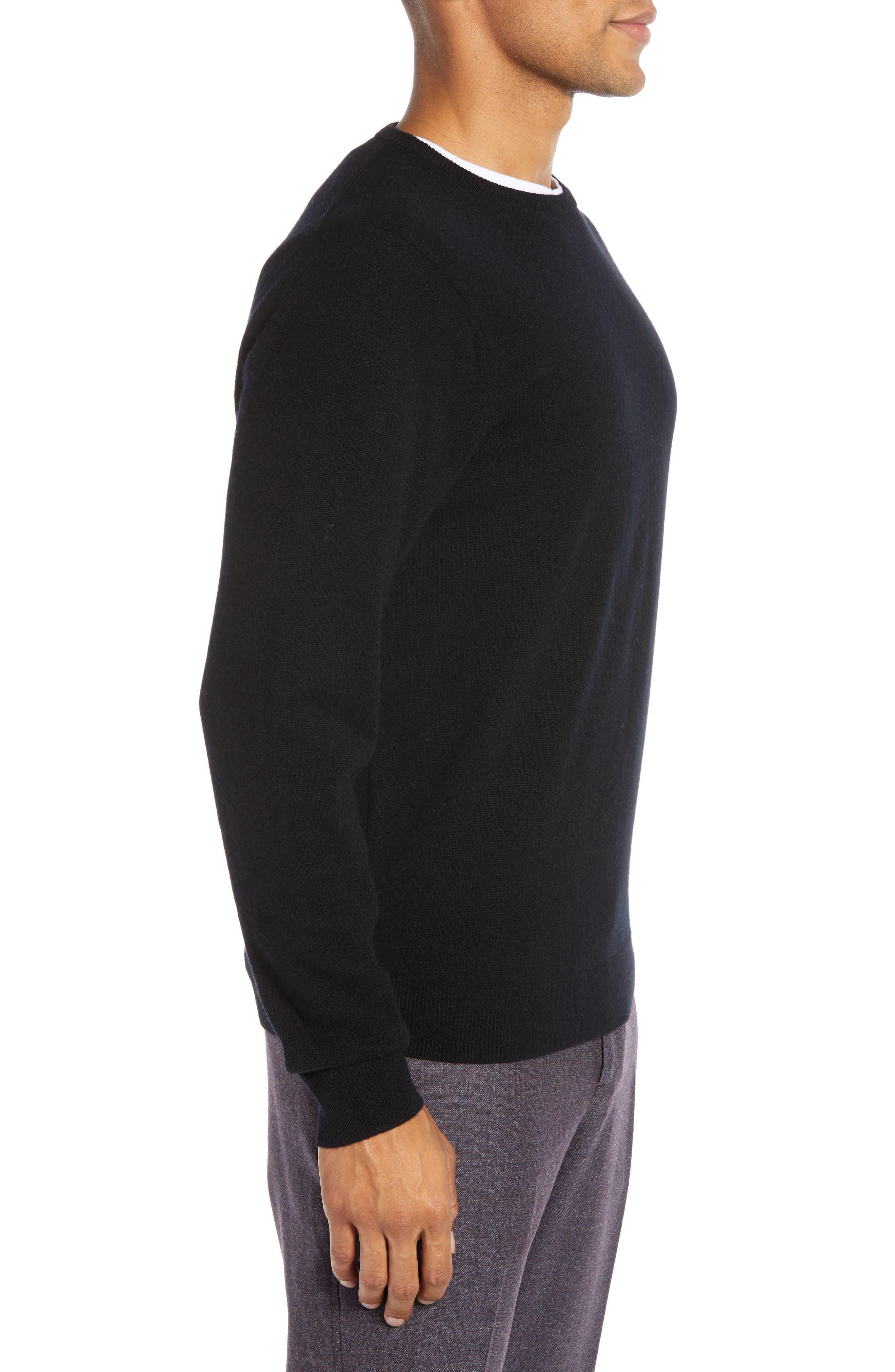 Regular Fit Wool & Cashmere Sweater,                             Alternate thumbnail 3, color,                             BLACK CAVIAR