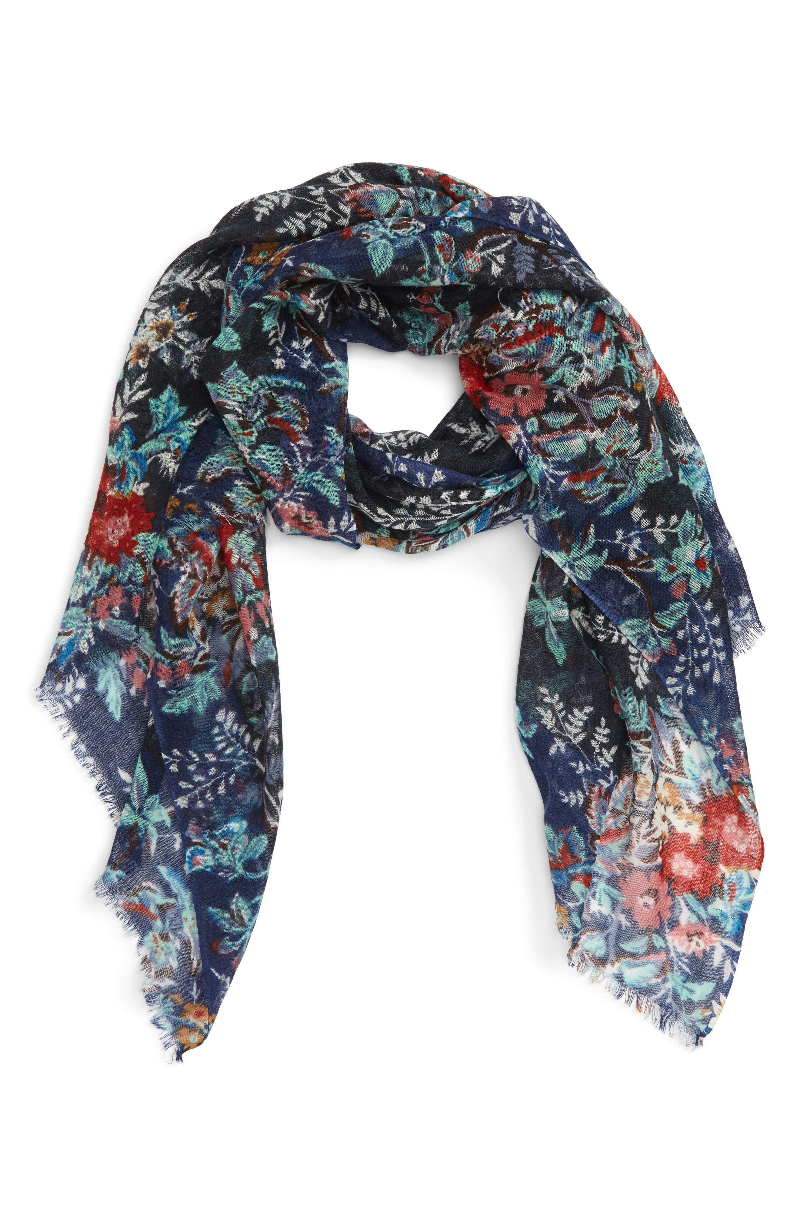 Botanical Floral Wool Scarf,                             Main thumbnail 1, color,                             002