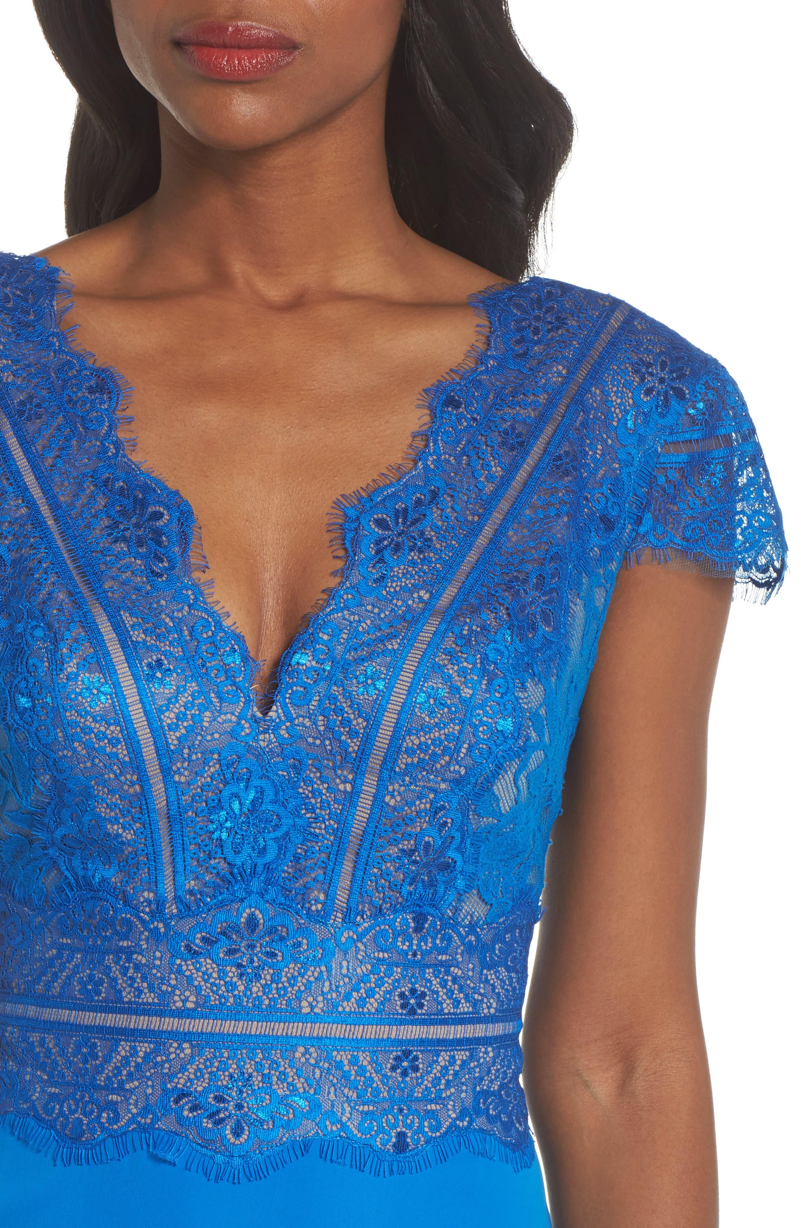 TADASHI SHOJI,                             Lace & Crepe A-Line Gown,                             Alternate thumbnail 4, color,                             400