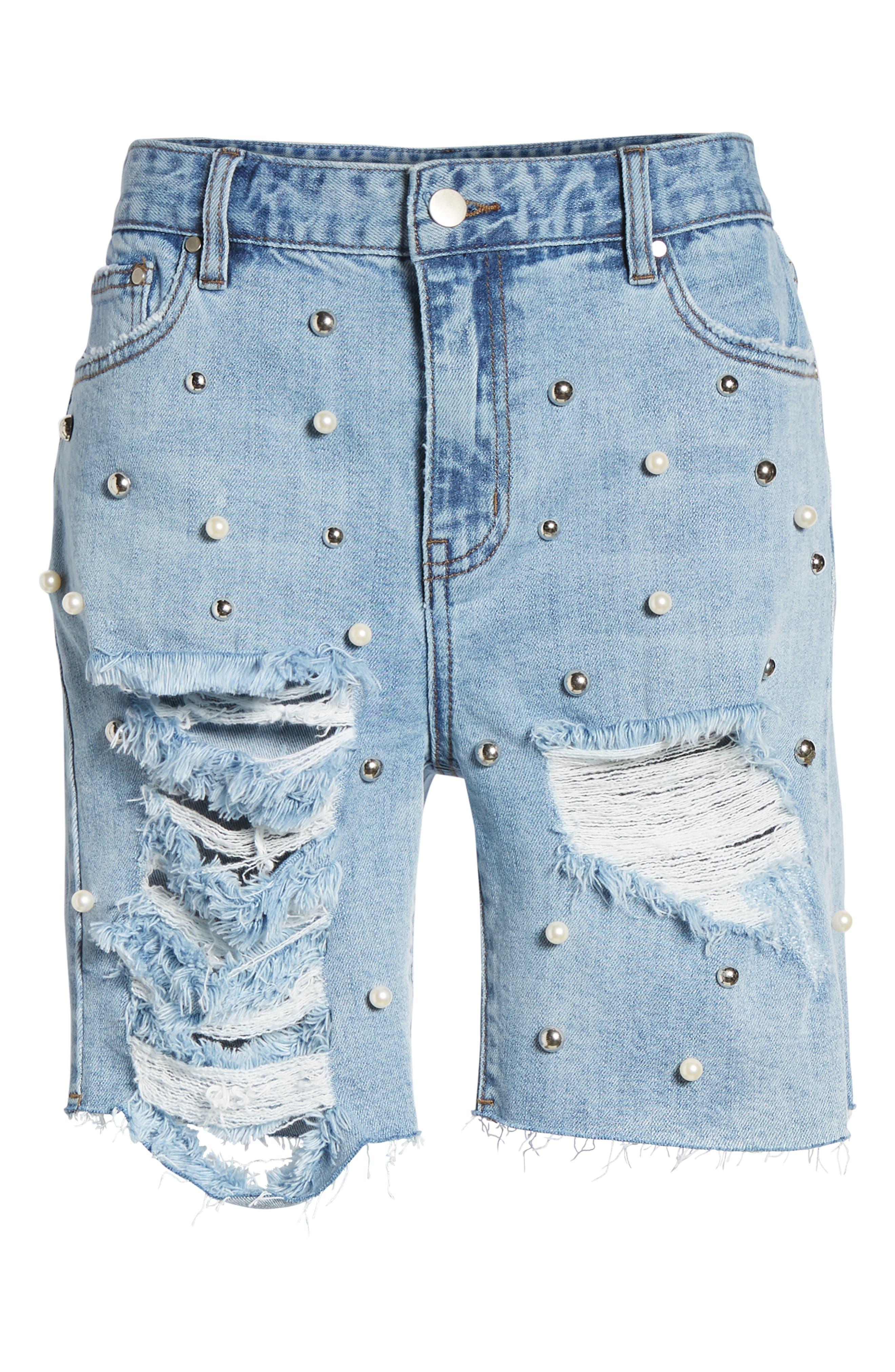 Imitation Pearl & Stud Ripped Denim Bermuda Shorts,                             Alternate thumbnail 7, color,                             400