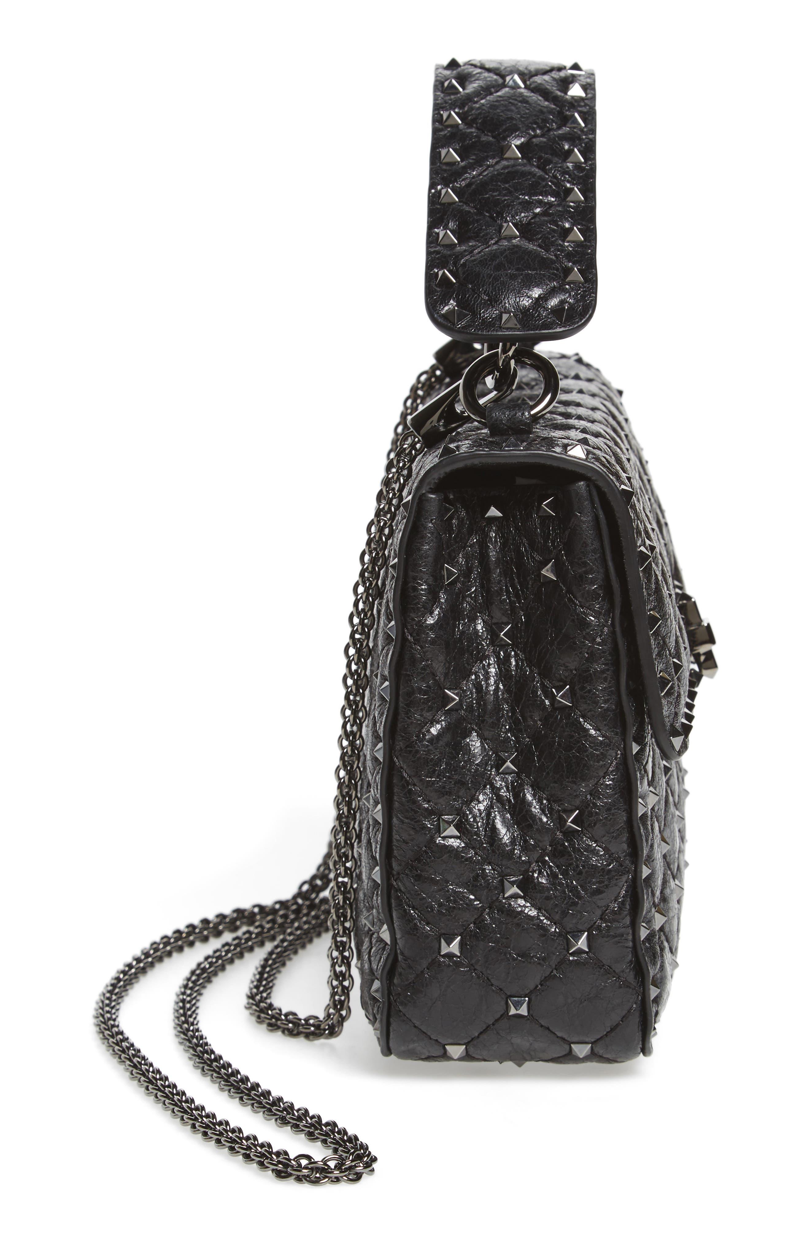 Medium Rockstud Spike Crossbody Bag,                             Alternate thumbnail 5, color,                             001