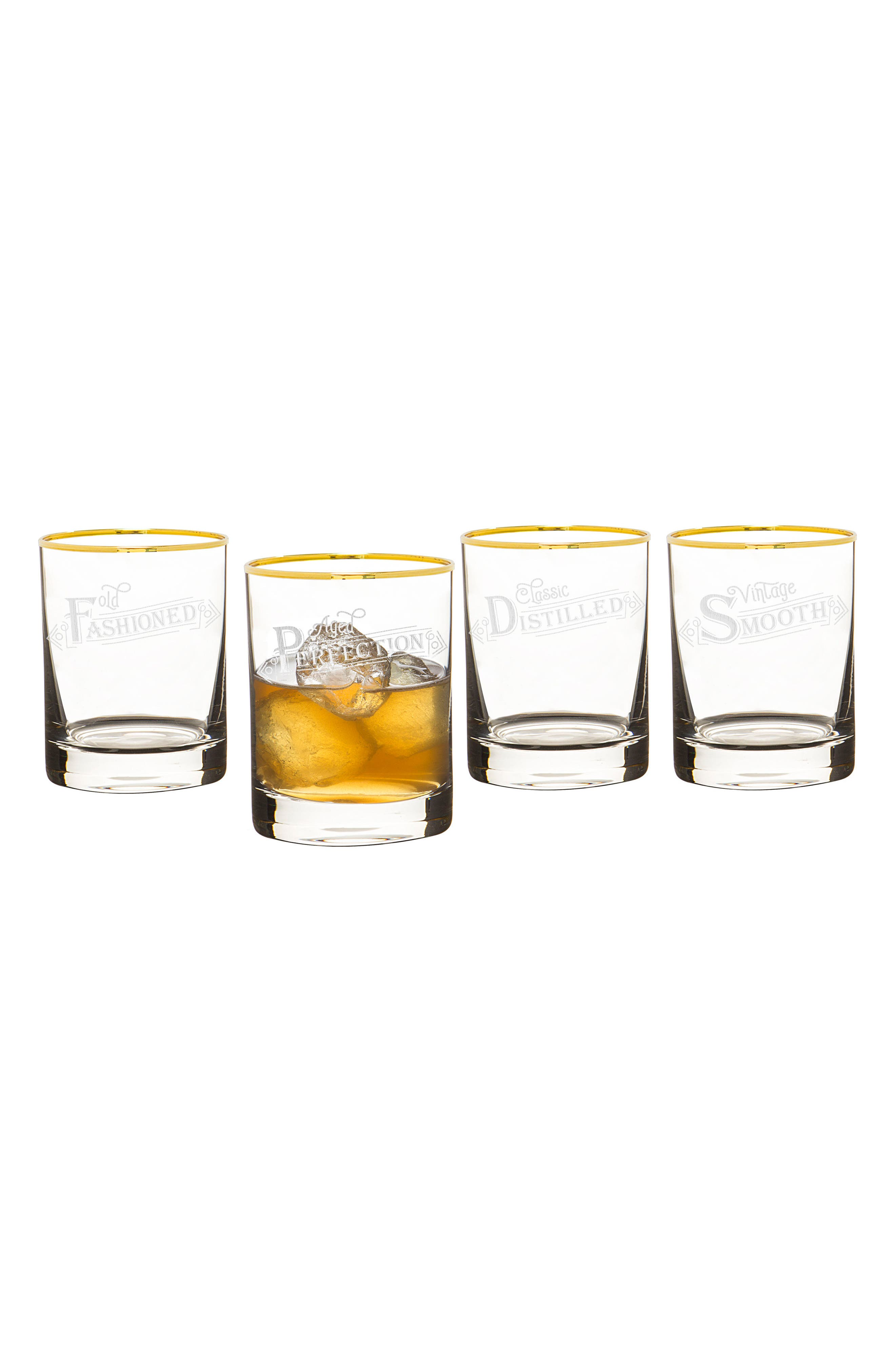 Set of 4 Gold Rim Old Fashioned Whiskey Glasses,                             Alternate thumbnail 2, color,                             110