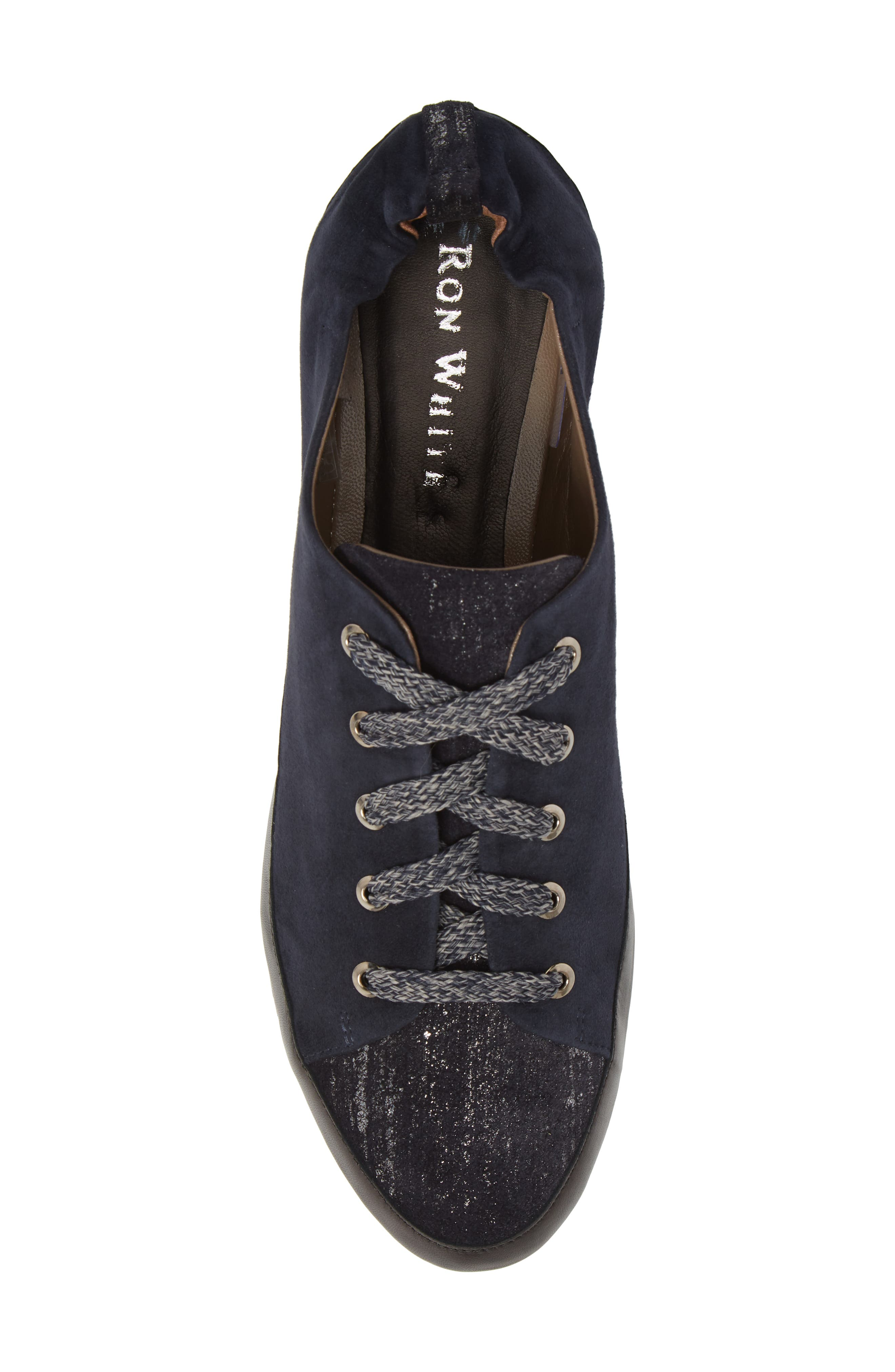 Nettie Lace-Up Wedge Sneaker,                             Alternate thumbnail 5, color,                             FRENCH NAVY LEATHER