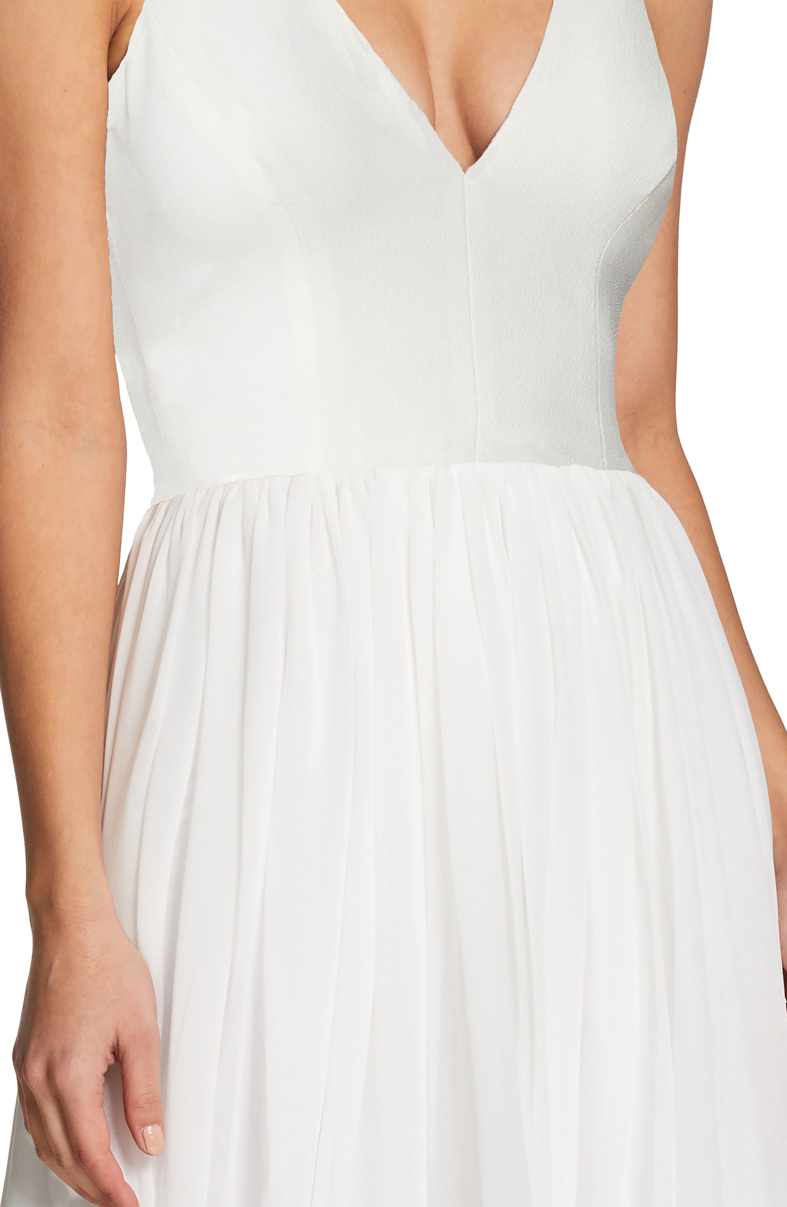 Alicia Mixed Media Midi Dress,                             Alternate thumbnail 4, color,                             OFF WHITE