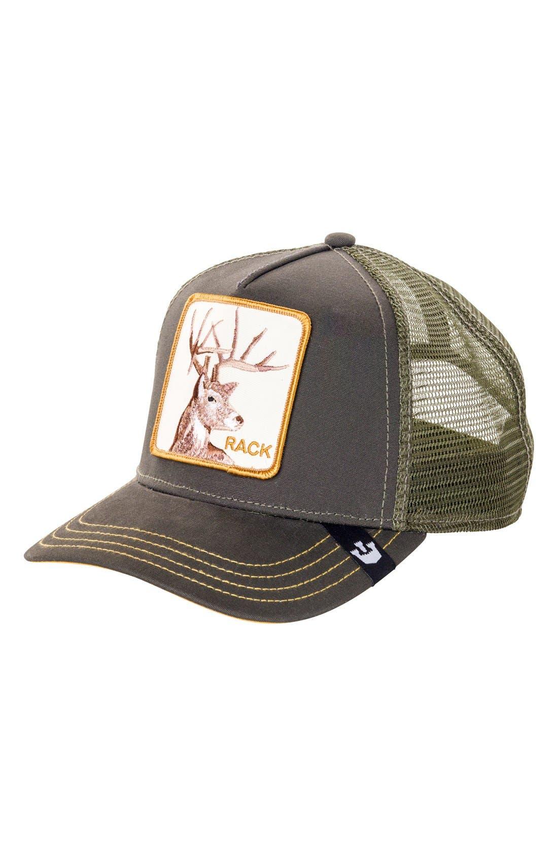 'Animal Farm - Rack' Trucker Hat,                             Main thumbnail 1, color,                             OLIVE