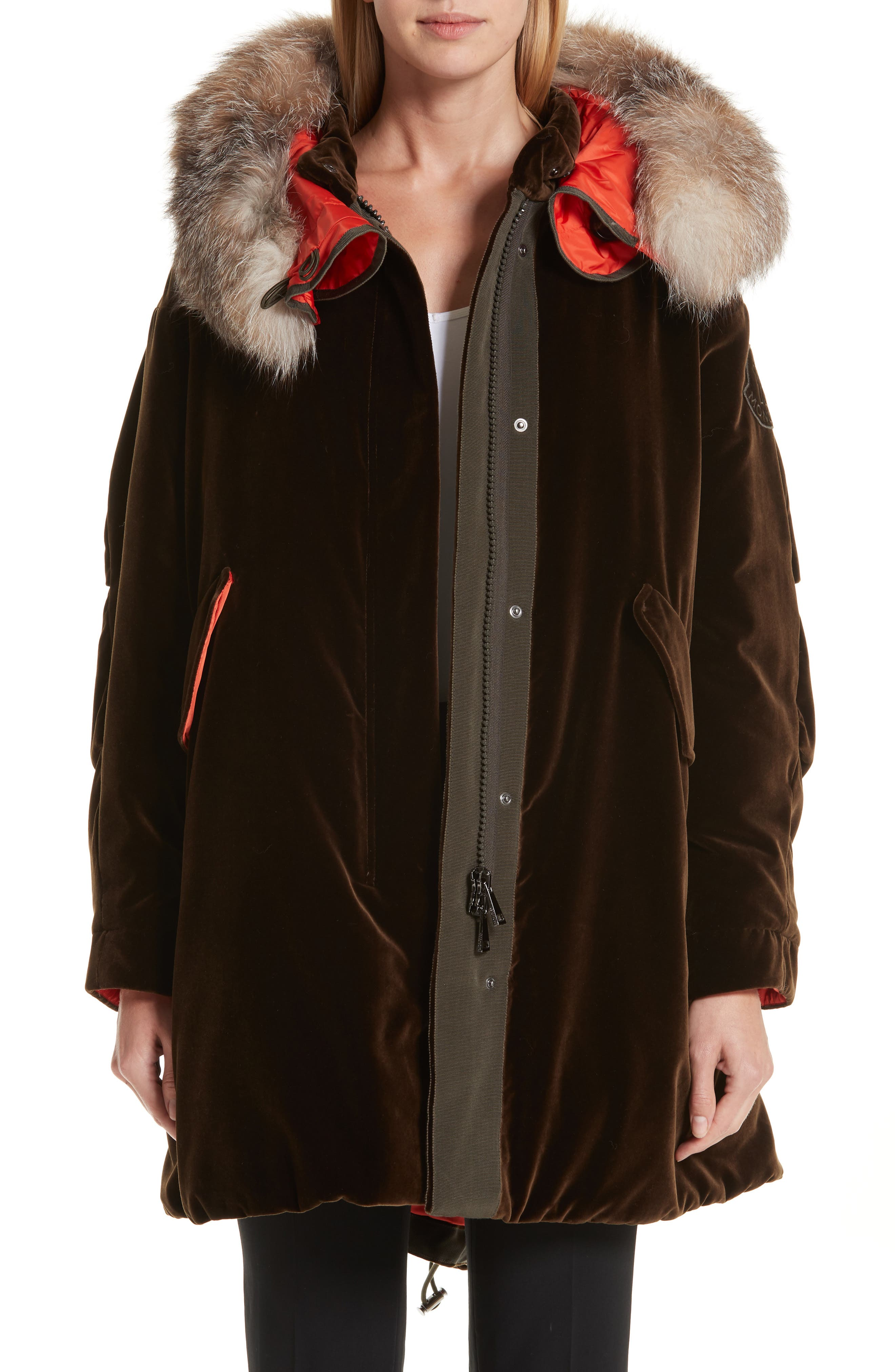 Moncler Tadorne Velvet Down Coat With Genuine Fox Fur Trim, Brown