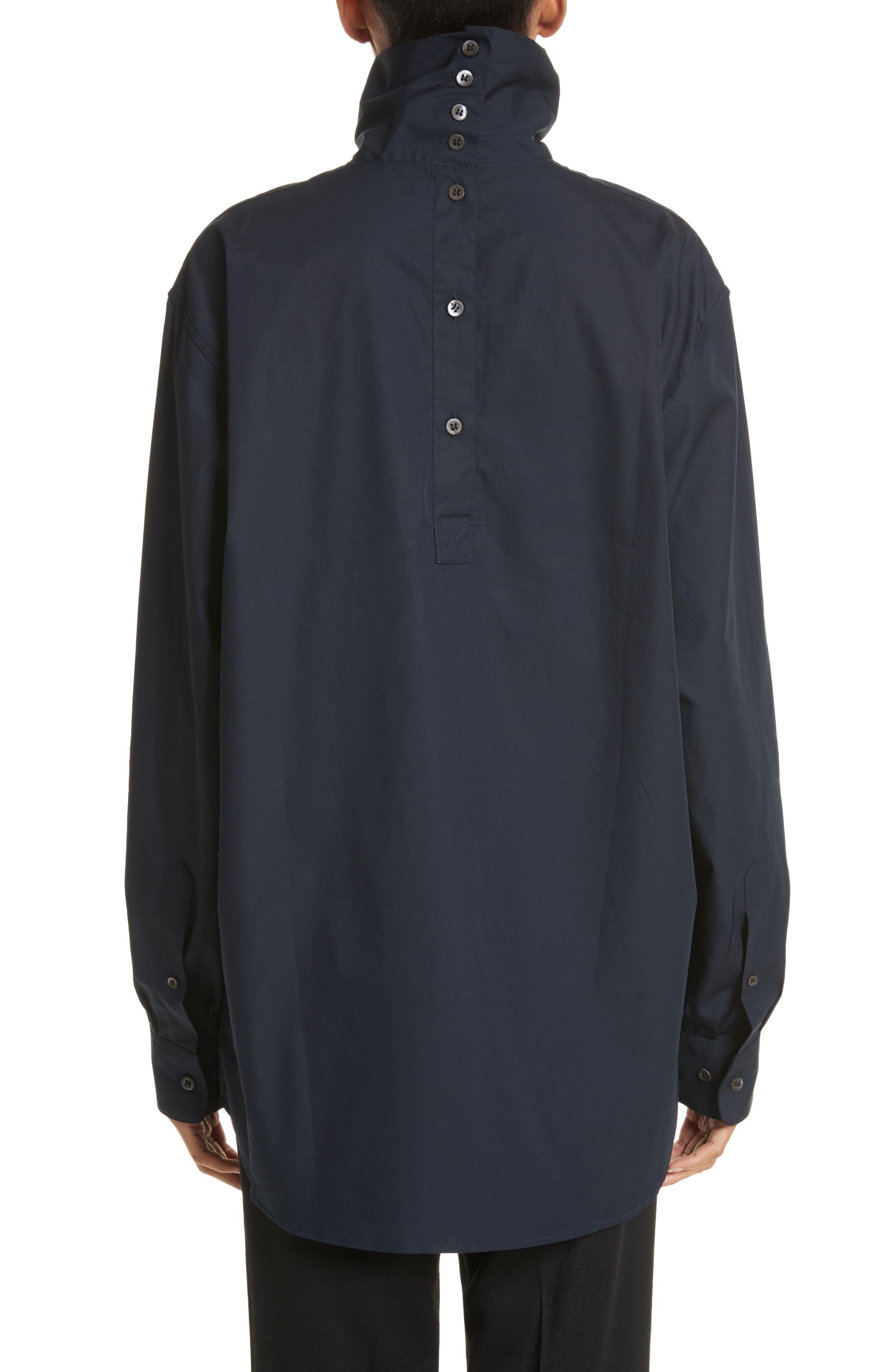 Cotton Poplin Mock Neck Shirt,                             Alternate thumbnail 2, color,                             400