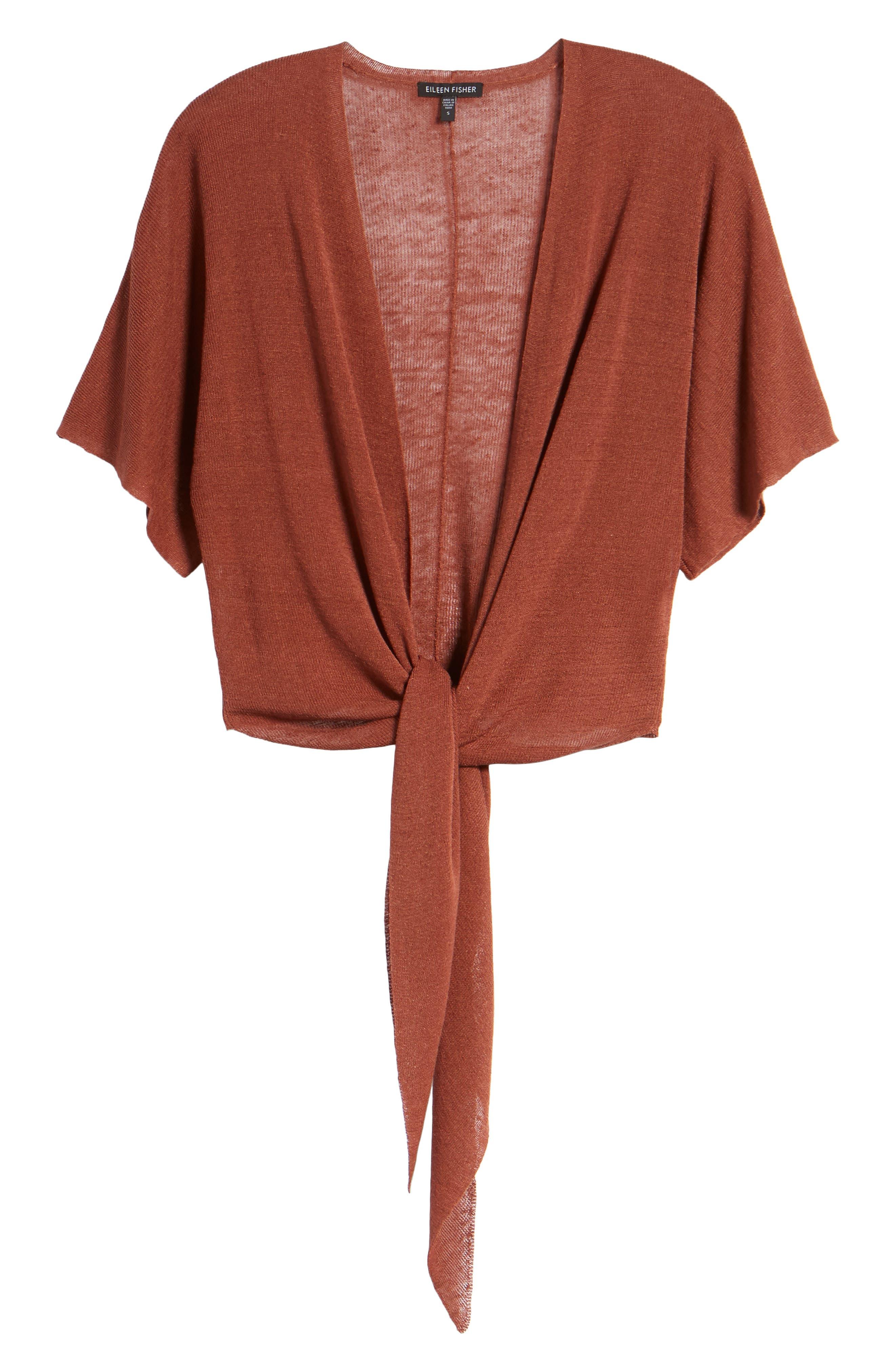 Tie Front Organic Linen Blend Cardigan,                             Alternate thumbnail 18, color,