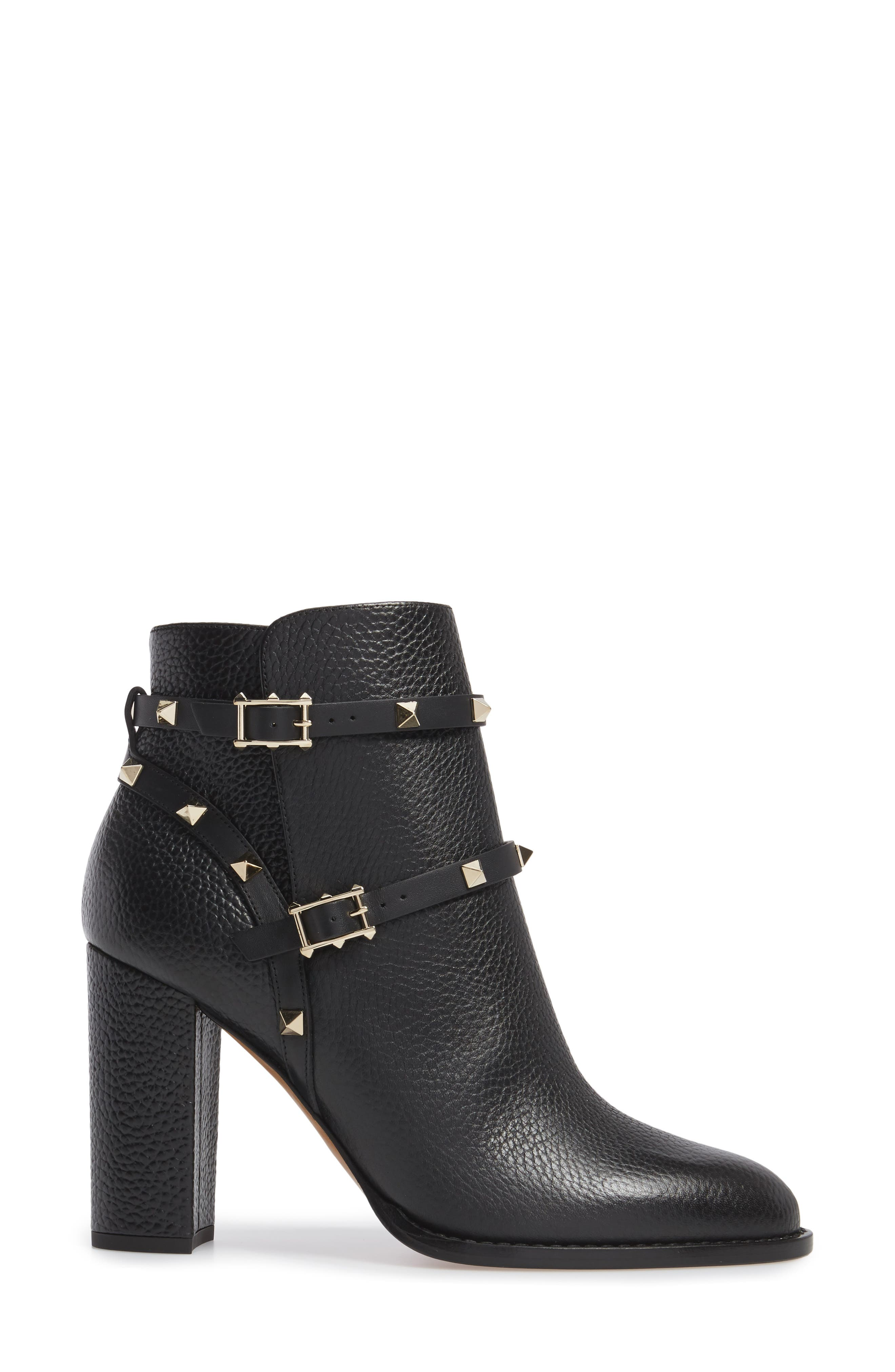 'Rockstud' Block Heel Bootie,                             Alternate thumbnail 3, color,                             BLACK