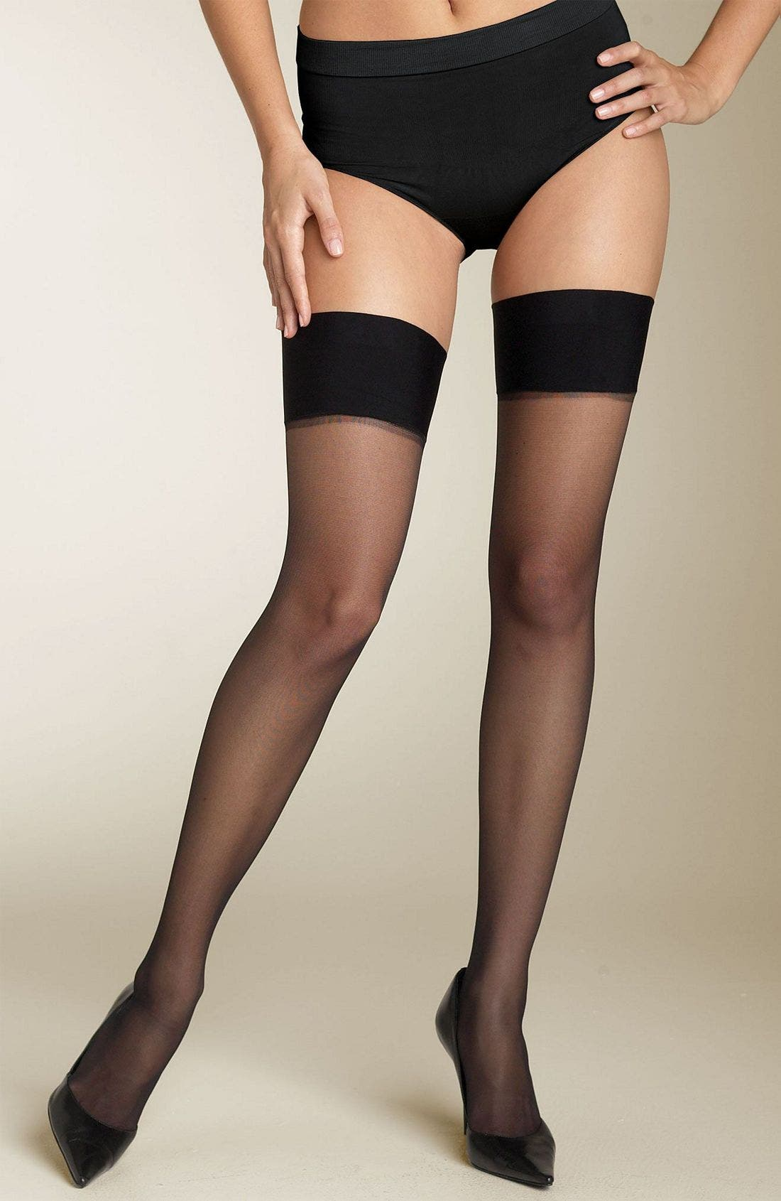 'Her Thighness' Thigh High Stockings, Main, color, BLK