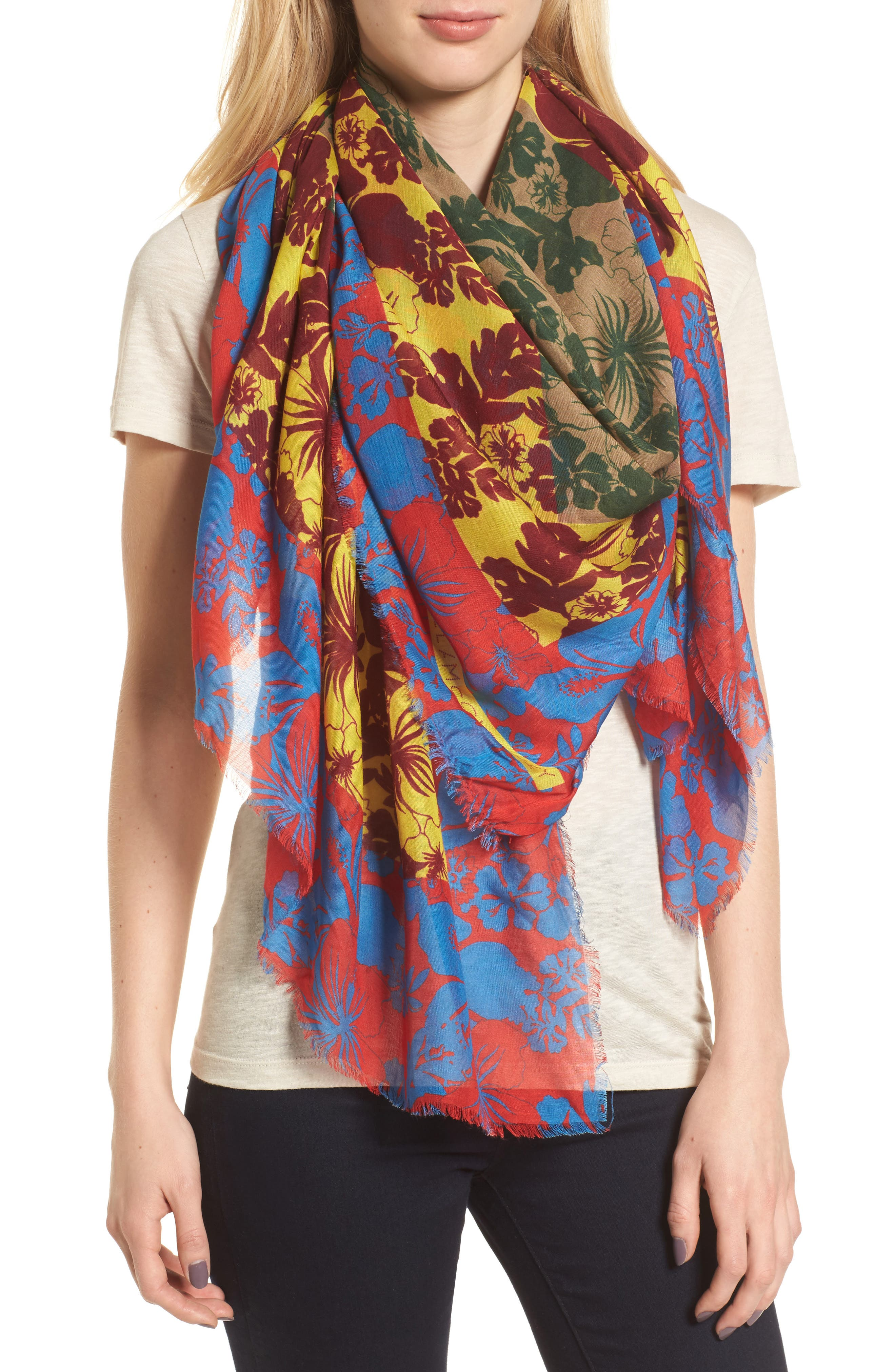 Tropical Floral Print Silk & Modal Scarf,                             Alternate thumbnail 2, color,                             600