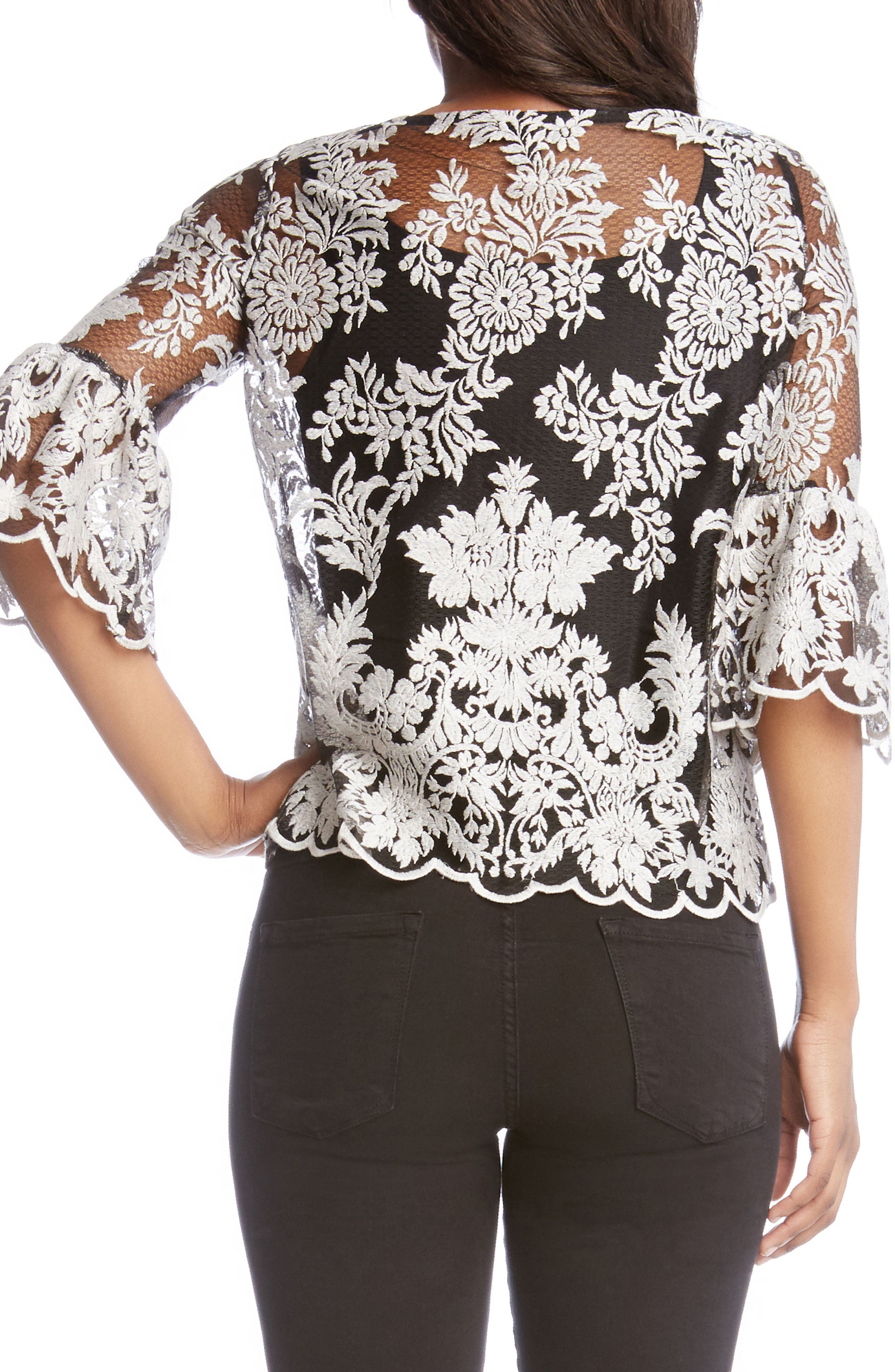 Bell Sleeve Lace Top,                             Alternate thumbnail 2, color,                             007