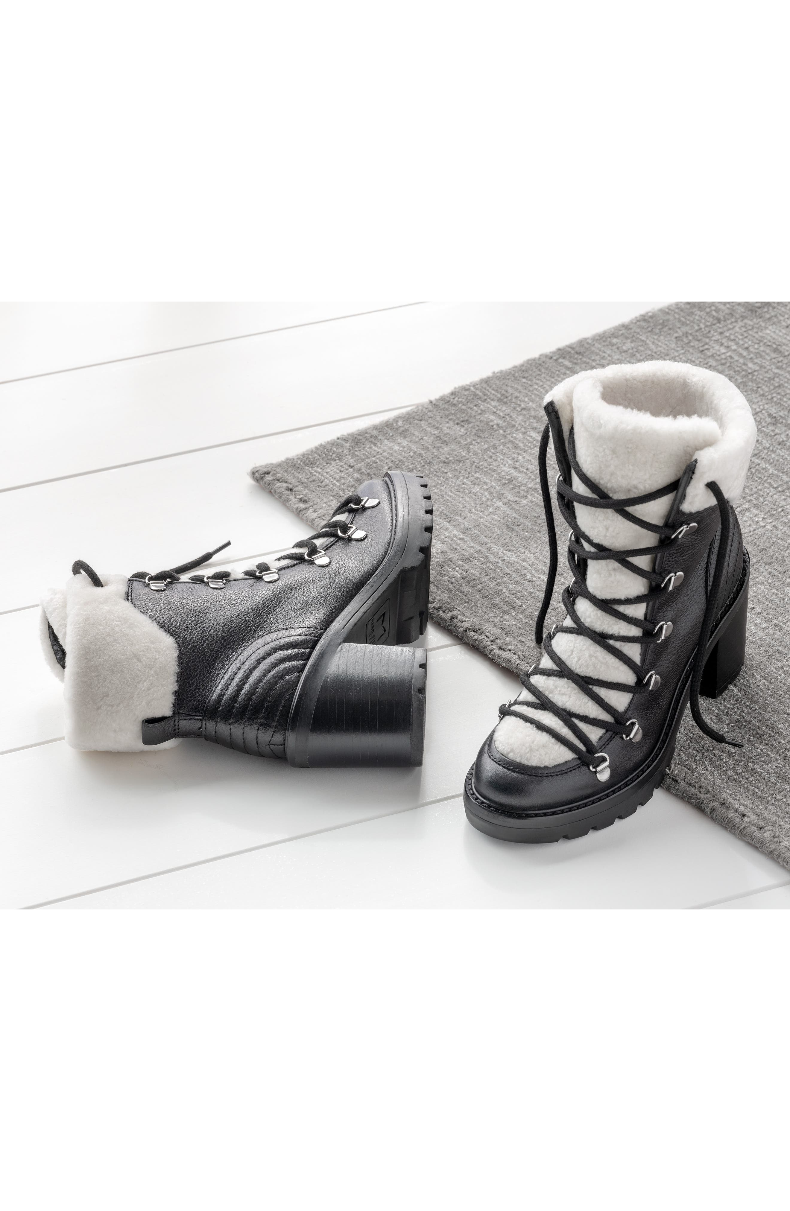 MARC FISHER LTD,                             Daven Genuine Shearling Lace Up Boot,                             Alternate thumbnail 7, color,                             BLACK LEATHER