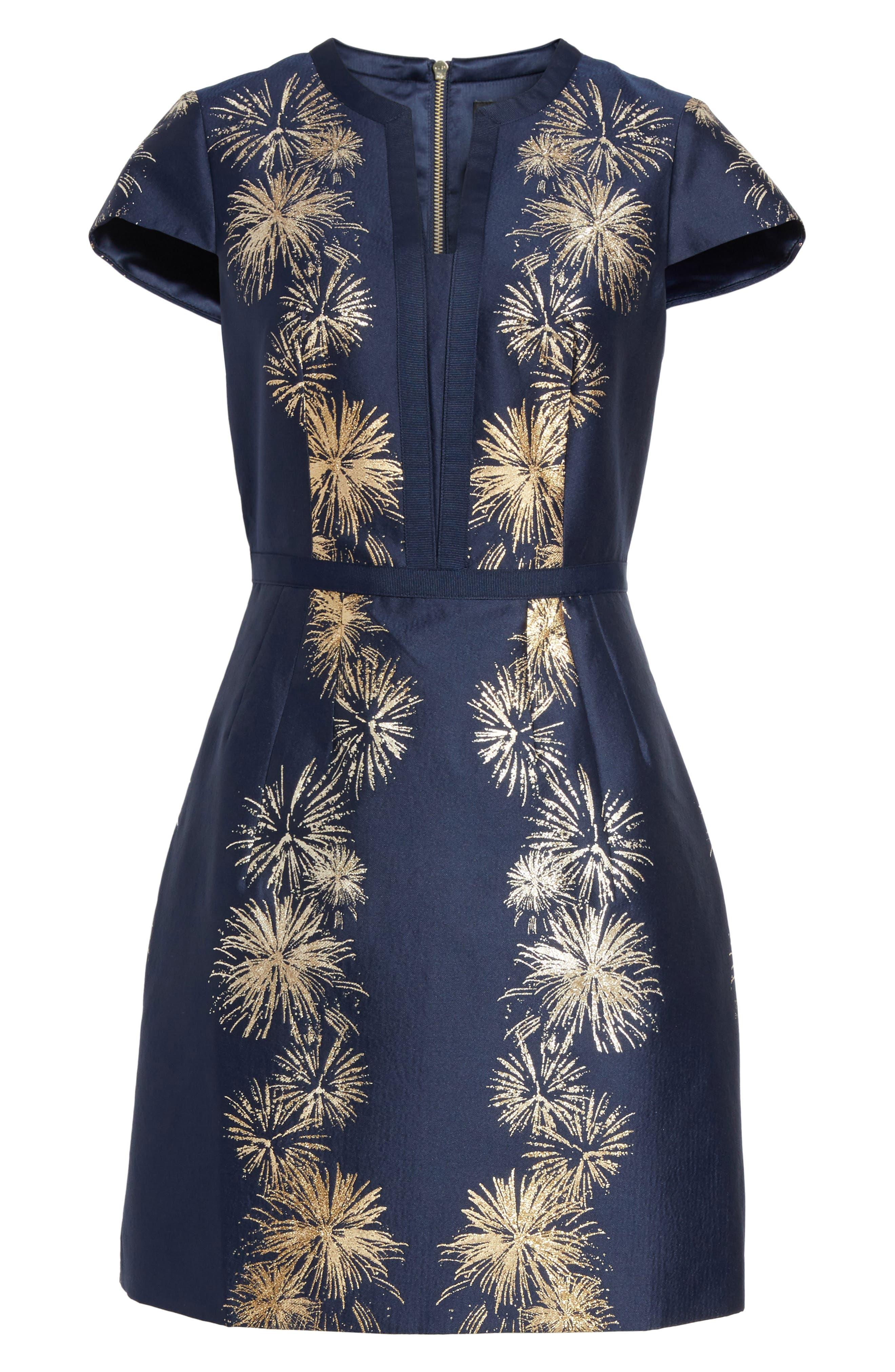 Tzalla Sculpted Stardust Jacquard Dress,                             Alternate thumbnail 6, color,                             402