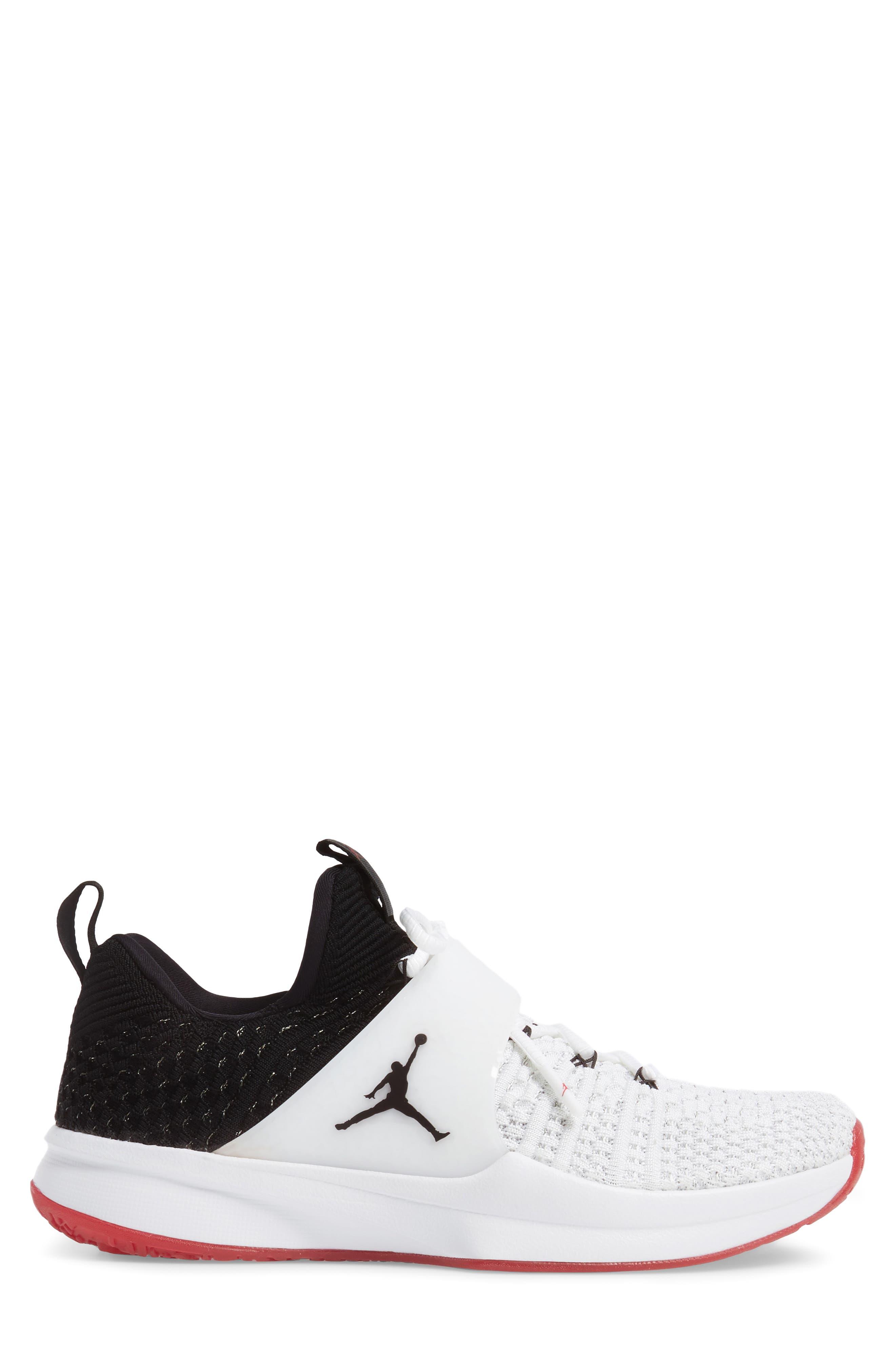 Jordan Flyknit Trainer 2 Low Sneaker,                             Alternate thumbnail 3, color,                             WHITE/ BLACK/ BLACK/ GYM RED