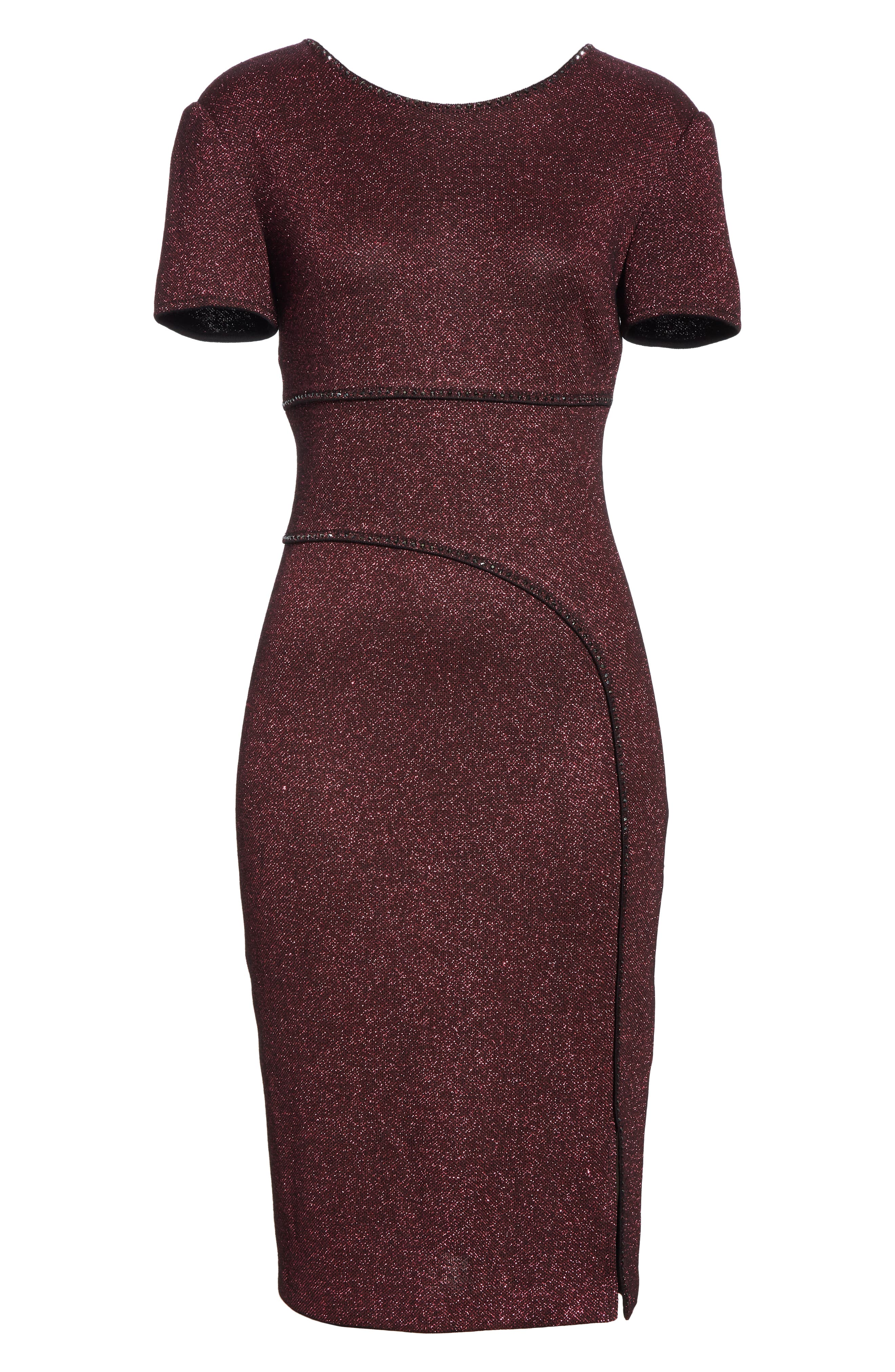 Mod Metallic Knit Sheath Dress,                             Alternate thumbnail 7, color,                             DARK PINK MULTI