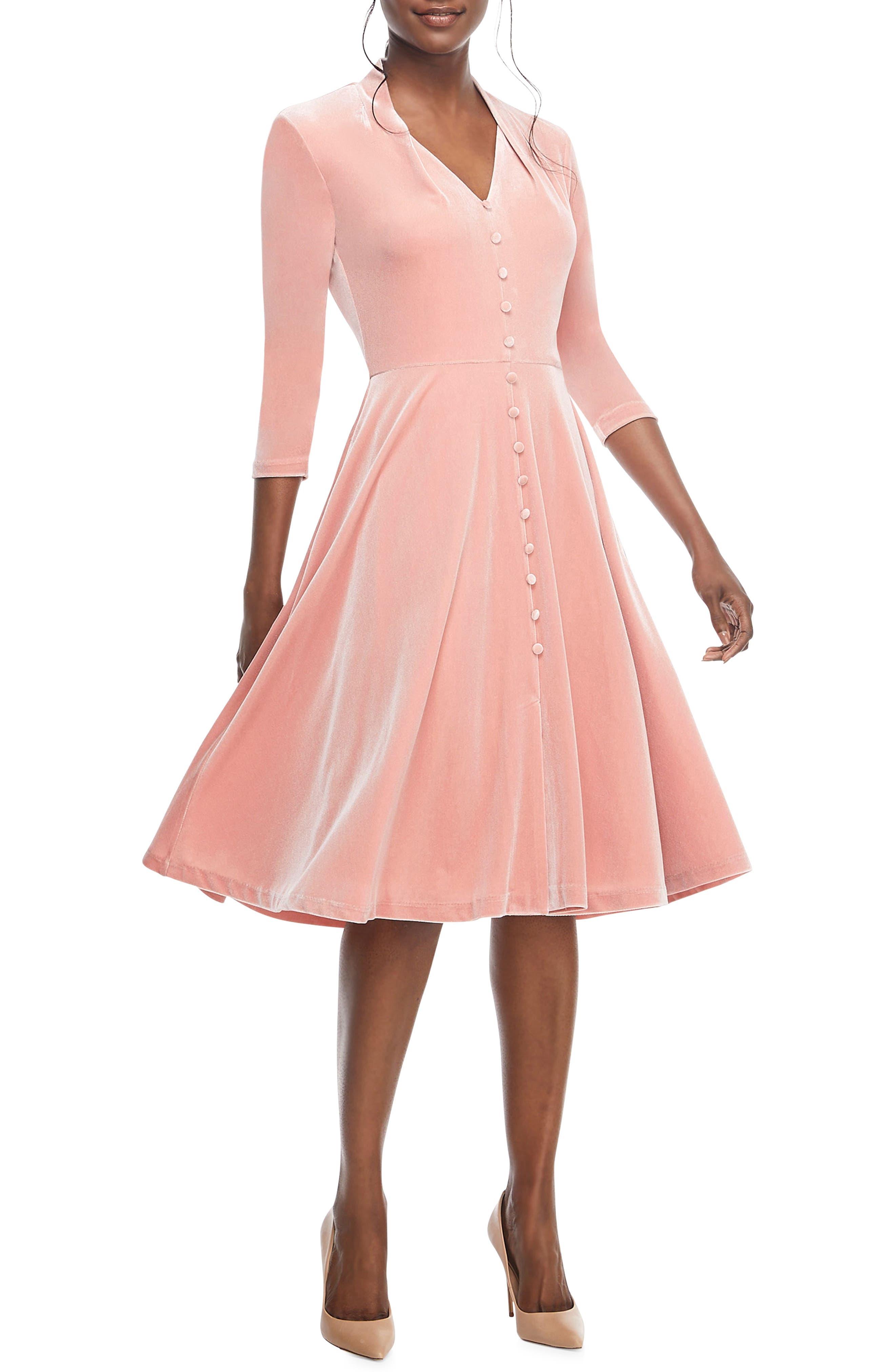 Joy Button Front Velvet Dress,                             Main thumbnail 1, color,                             PINK