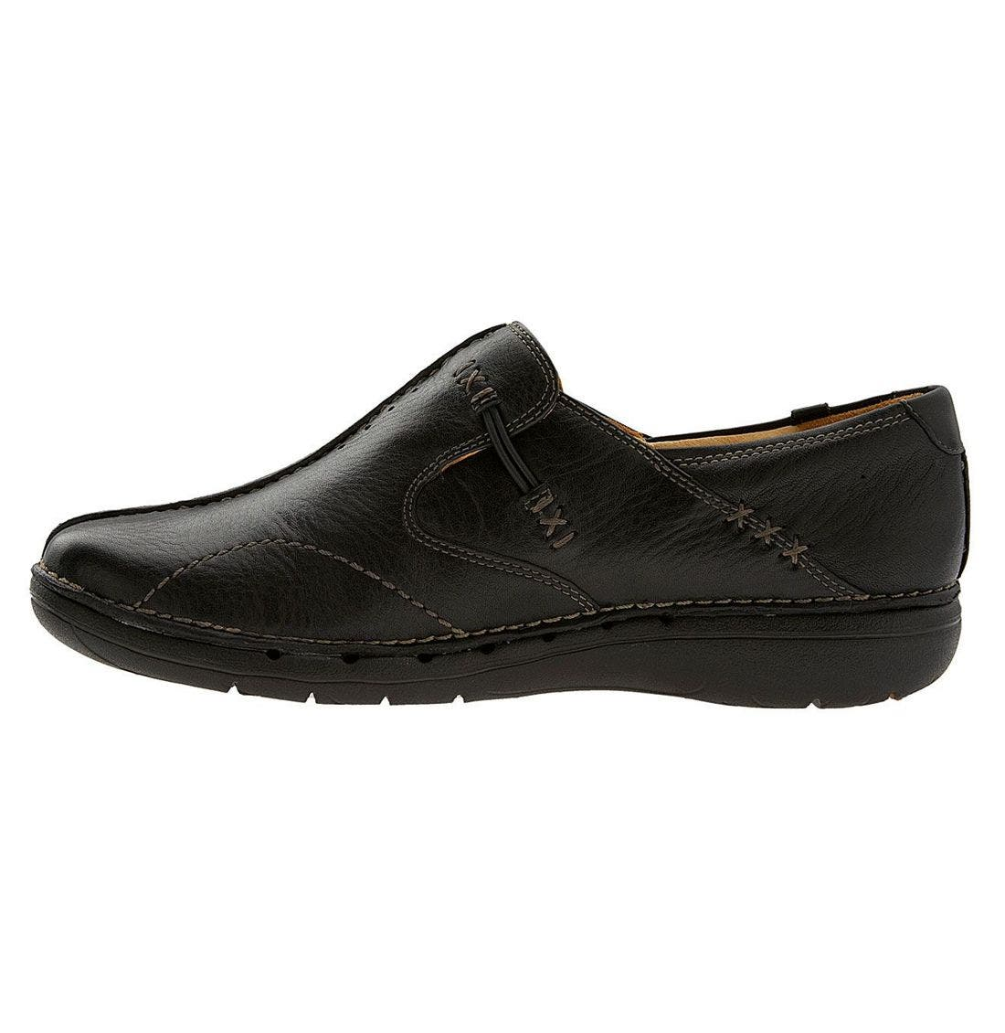 Unstructured 'Un.Loop' Slip-On,                             Alternate thumbnail 2, color,                             BLACK LEATHER