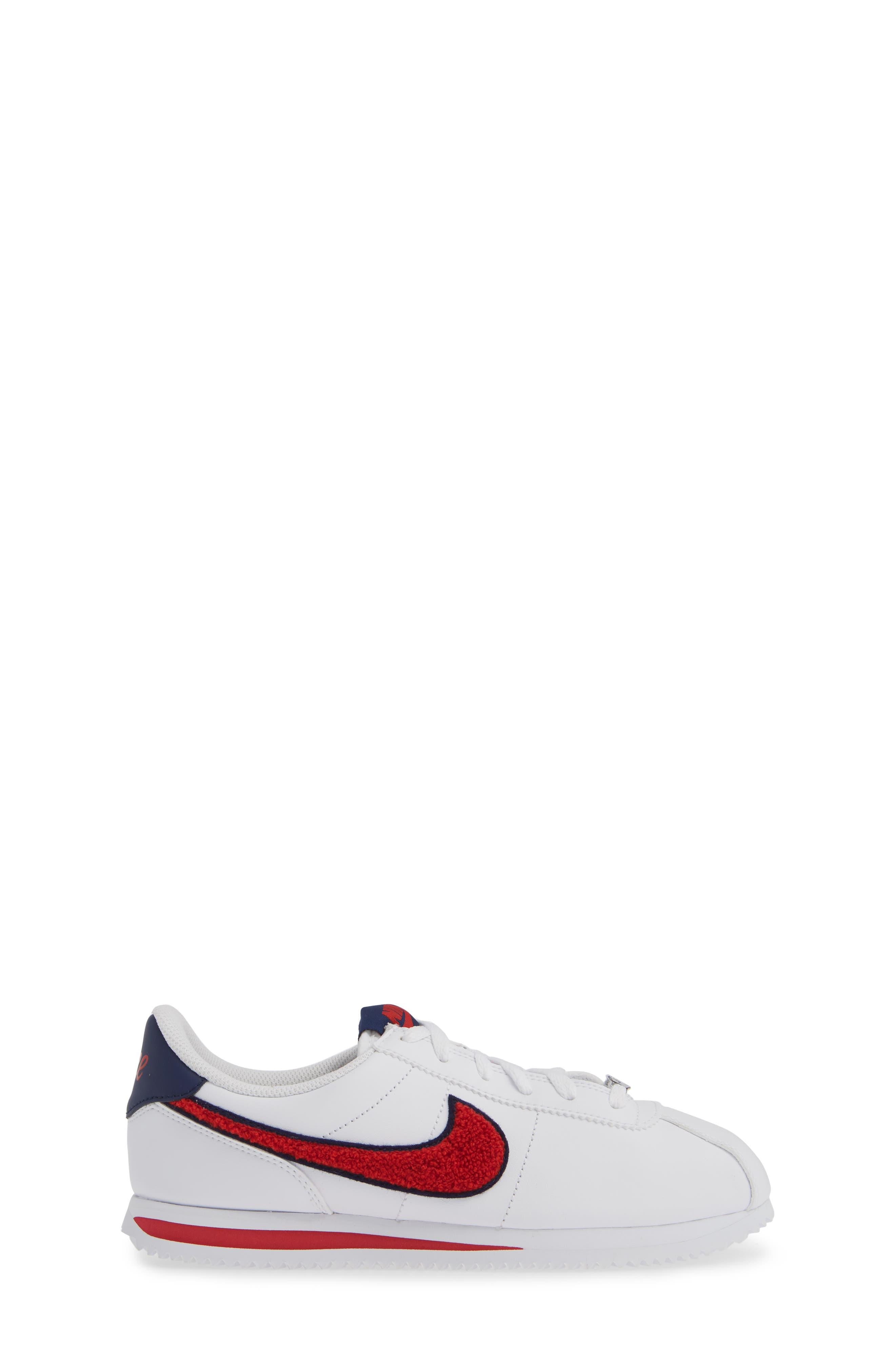 Cortez Basic SE Sneaker,                             Alternate thumbnail 3, color,                             WHITE/ UNIVERSITY RED/ BLUE