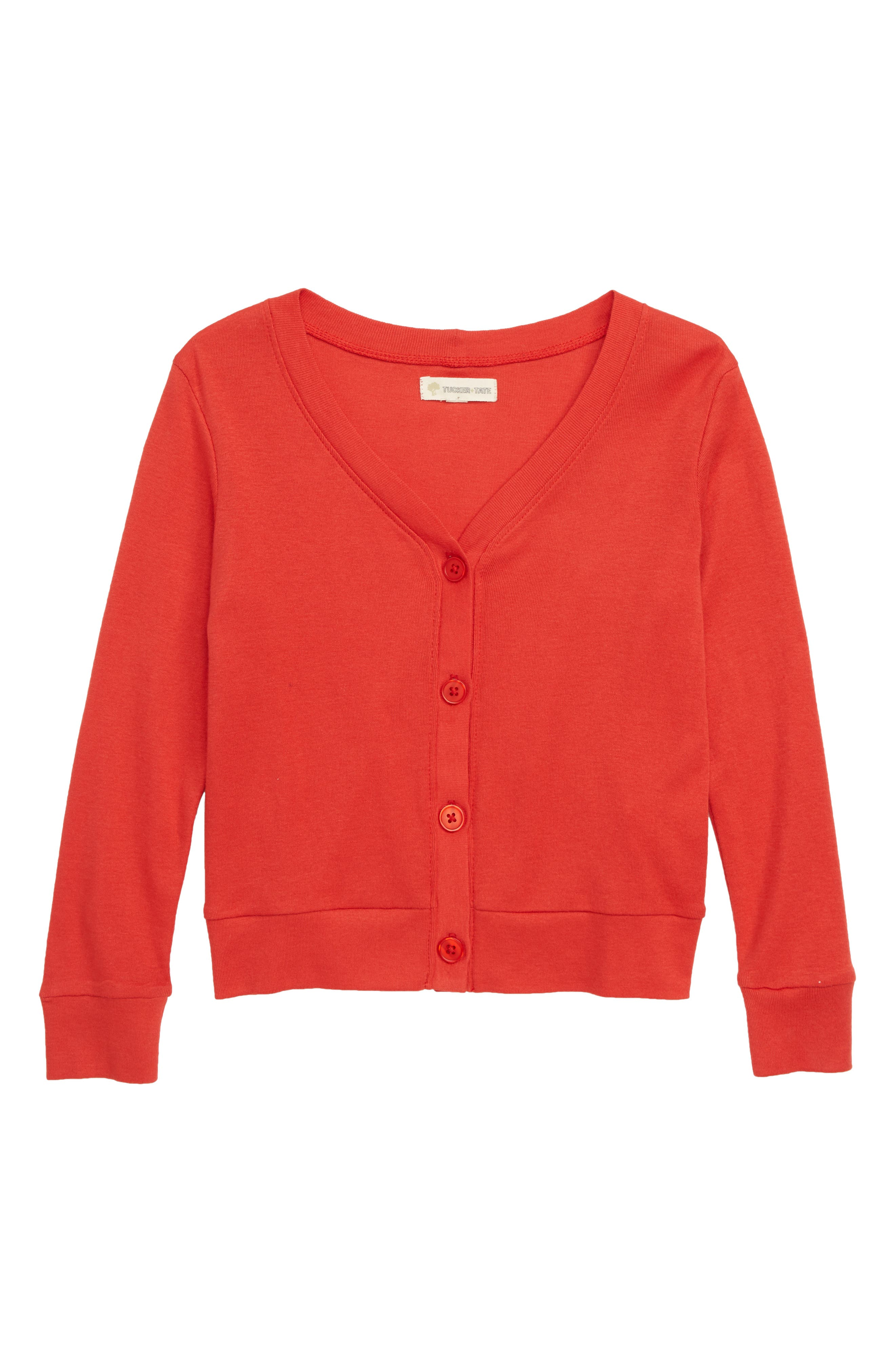 Everyday Ribbed Cardigan, Main, color, RED SCARLET