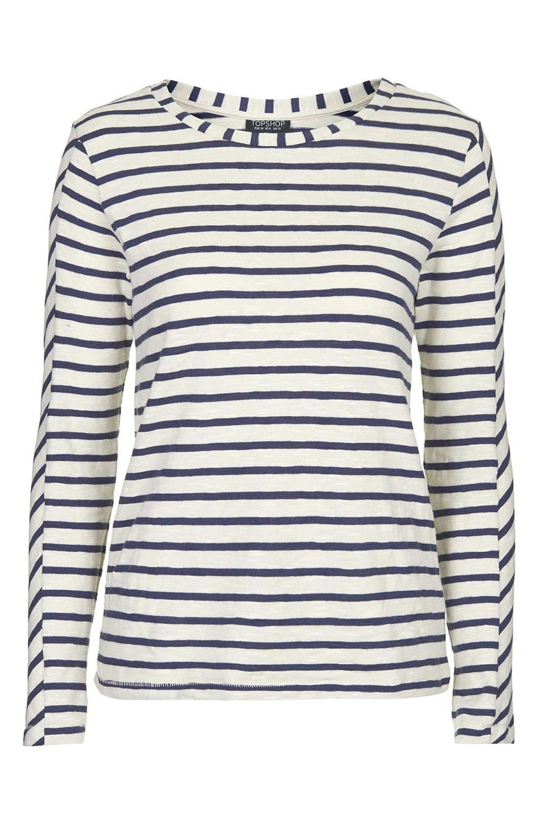 Long Sleeve Stripe Top,                             Alternate thumbnail 4, color,                             410