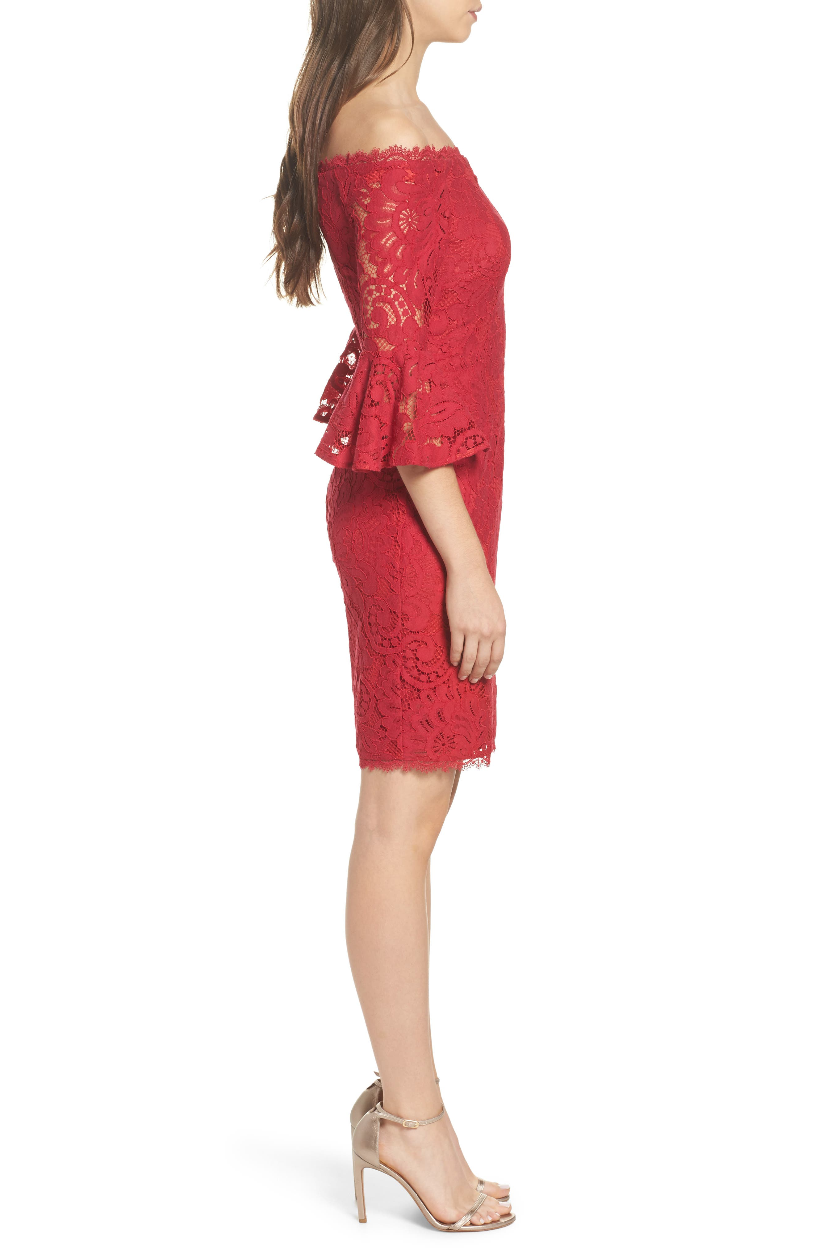 Off the Shoulder Lace Sheath Dress,                             Alternate thumbnail 3, color,                             620