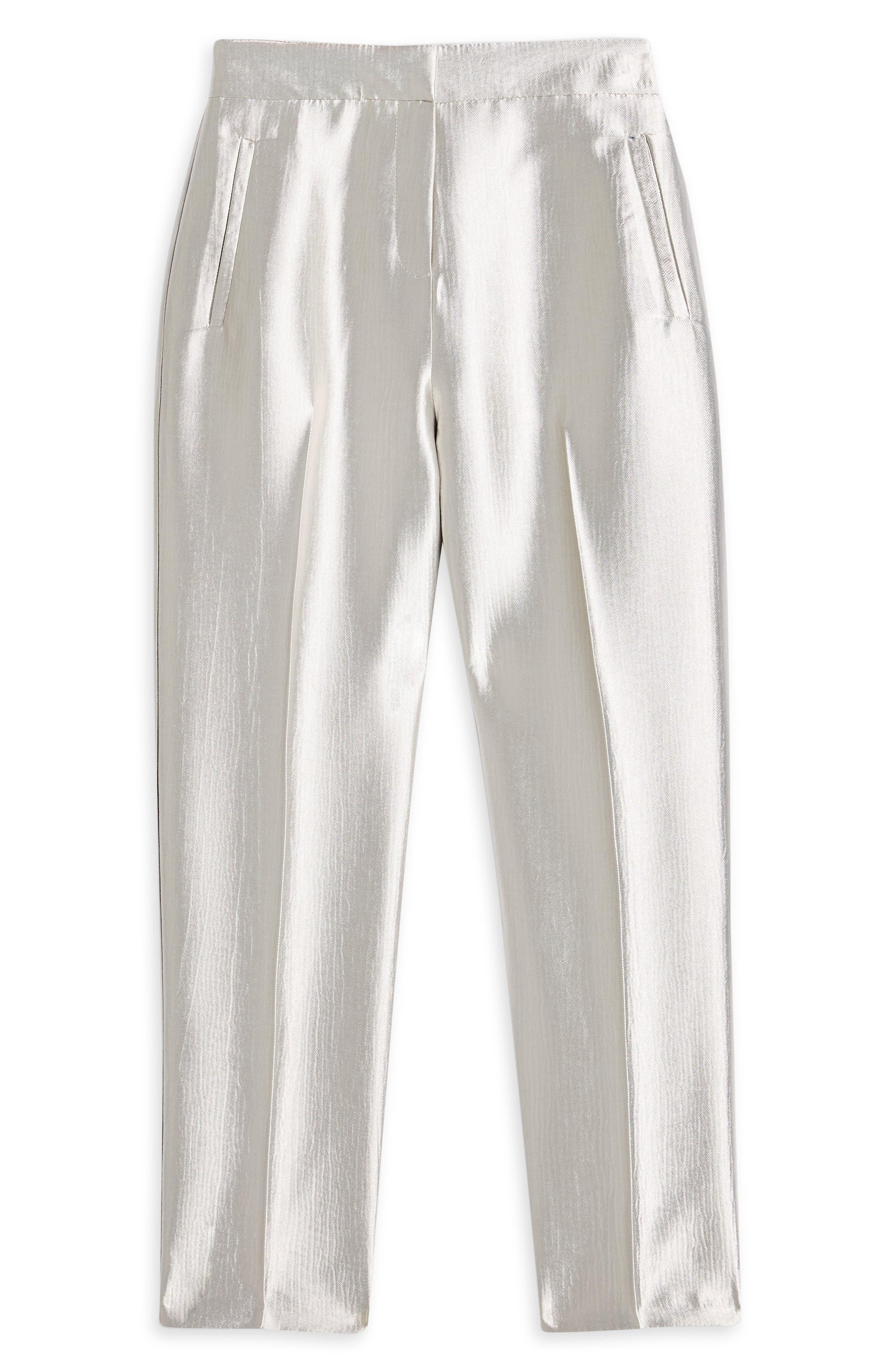 Clean Peg Satin Trousers,                             Alternate thumbnail 3, color,                             SILVER