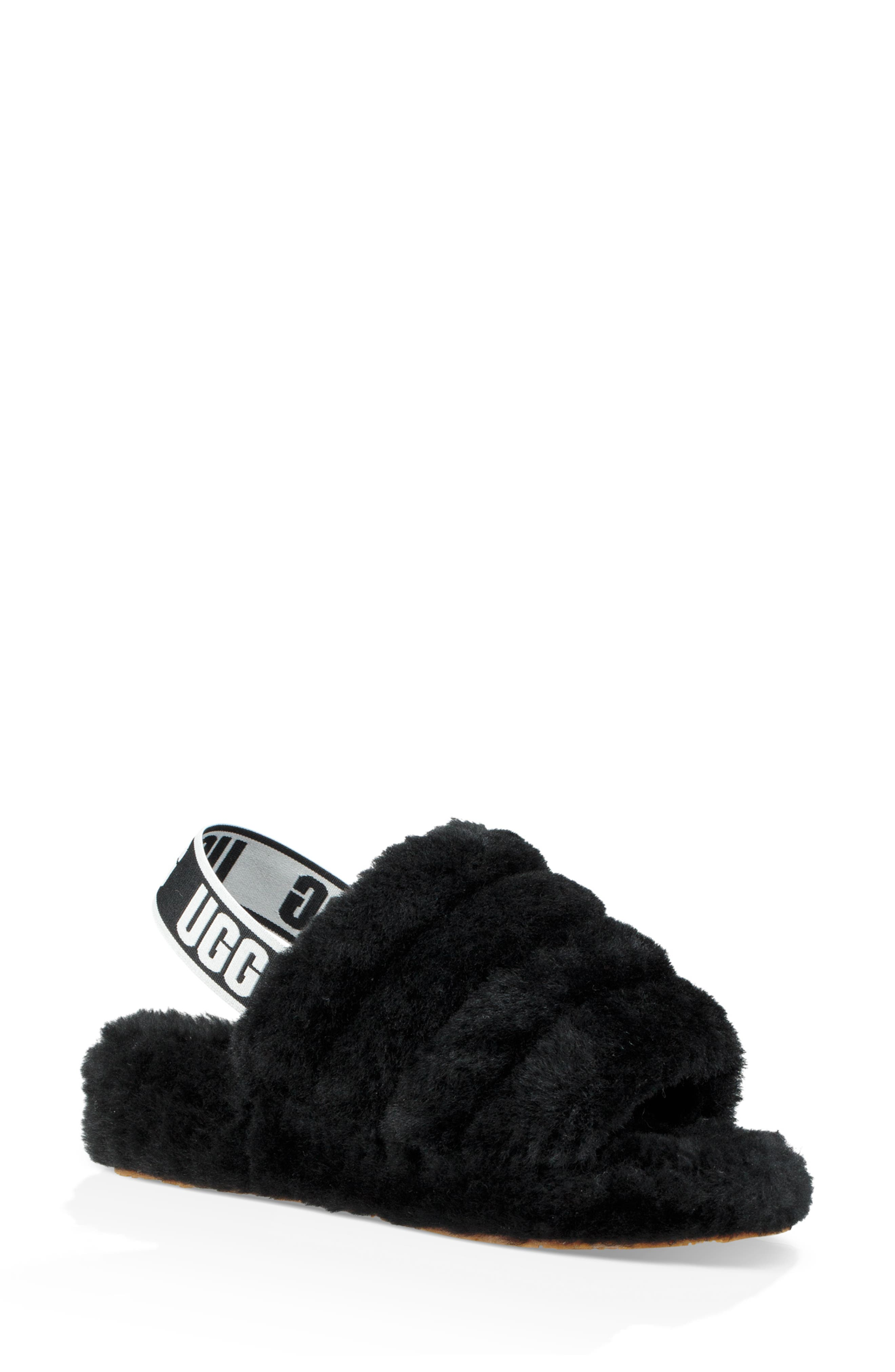 Ugg Fluff Yeah Genuine Shearling Slipper, Black