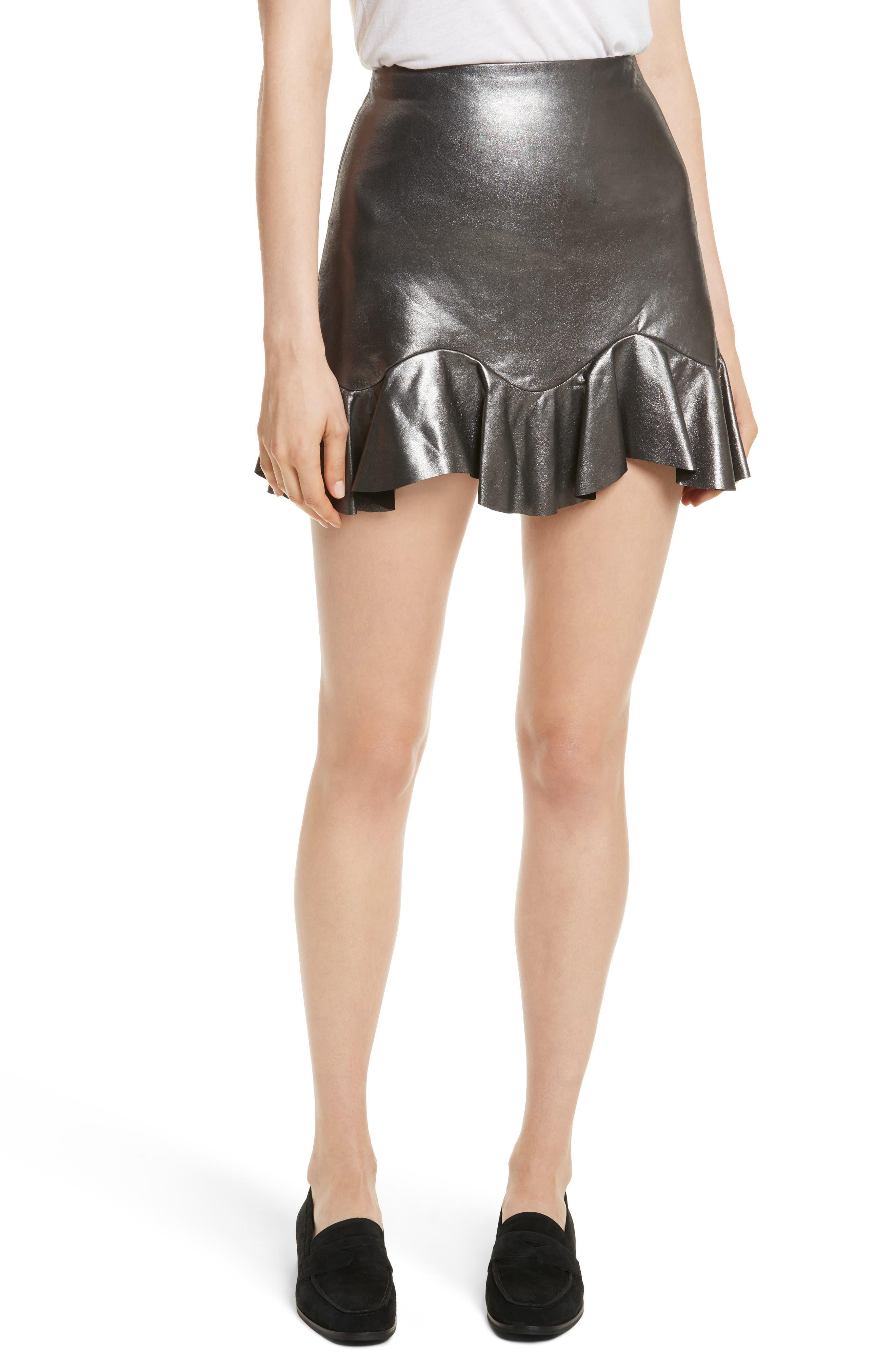 Metallic Leather Miniskirt,                         Main,                         color, 093