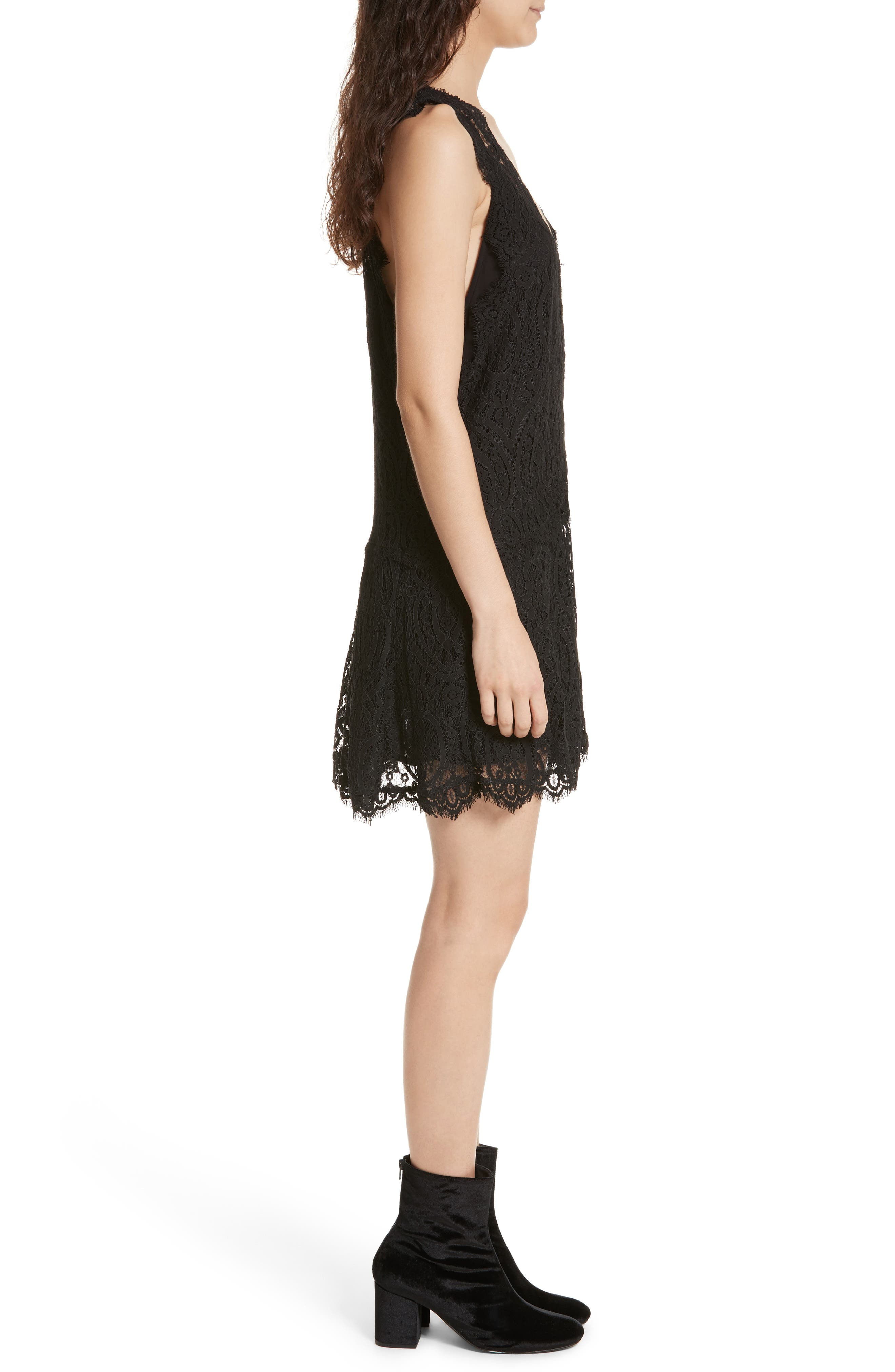Heart in Two Lace Minidress,                             Alternate thumbnail 3, color,                             001
