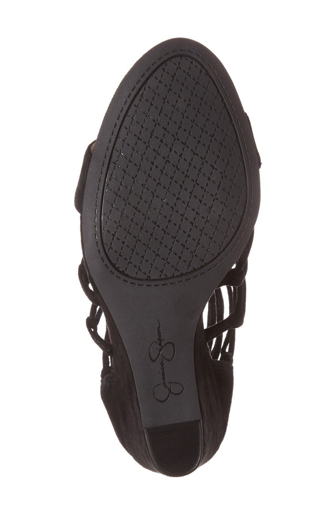 'Beccy' Wedge Sandal,                             Alternate thumbnail 4, color,                             001