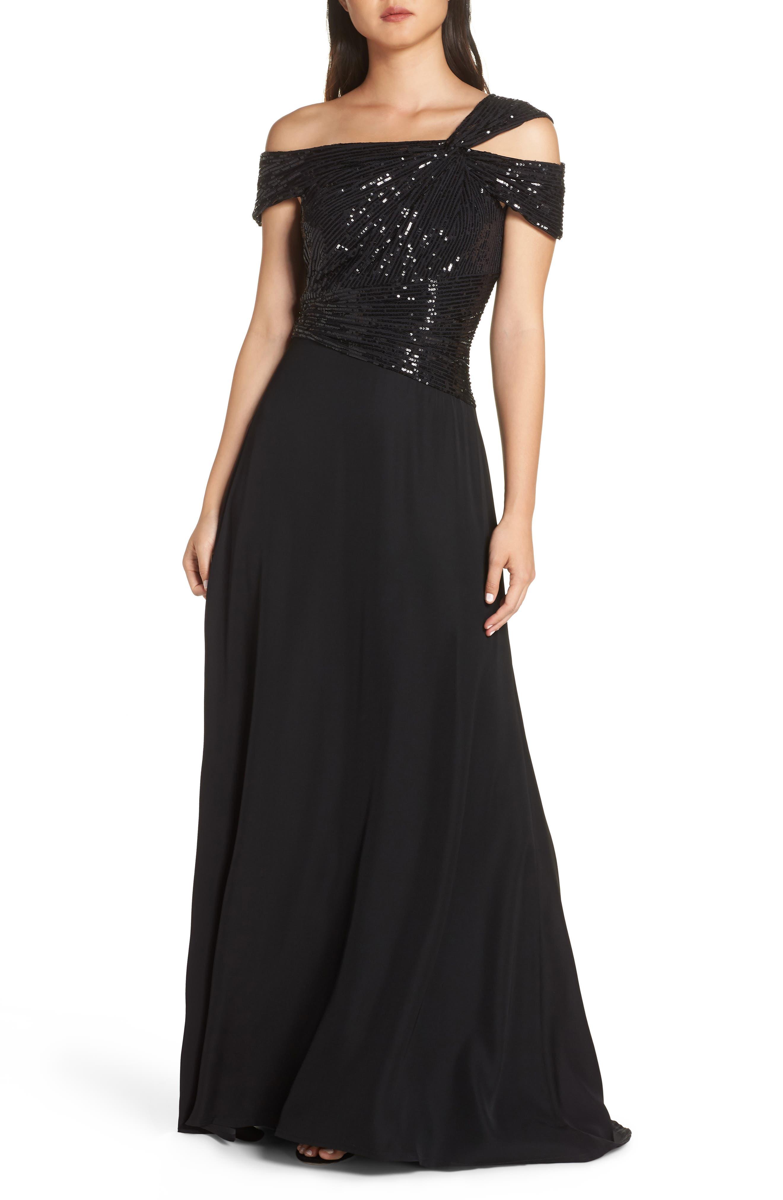 Tadashi Shoji Off-Shoulder Sequin Bodice Gown, Black