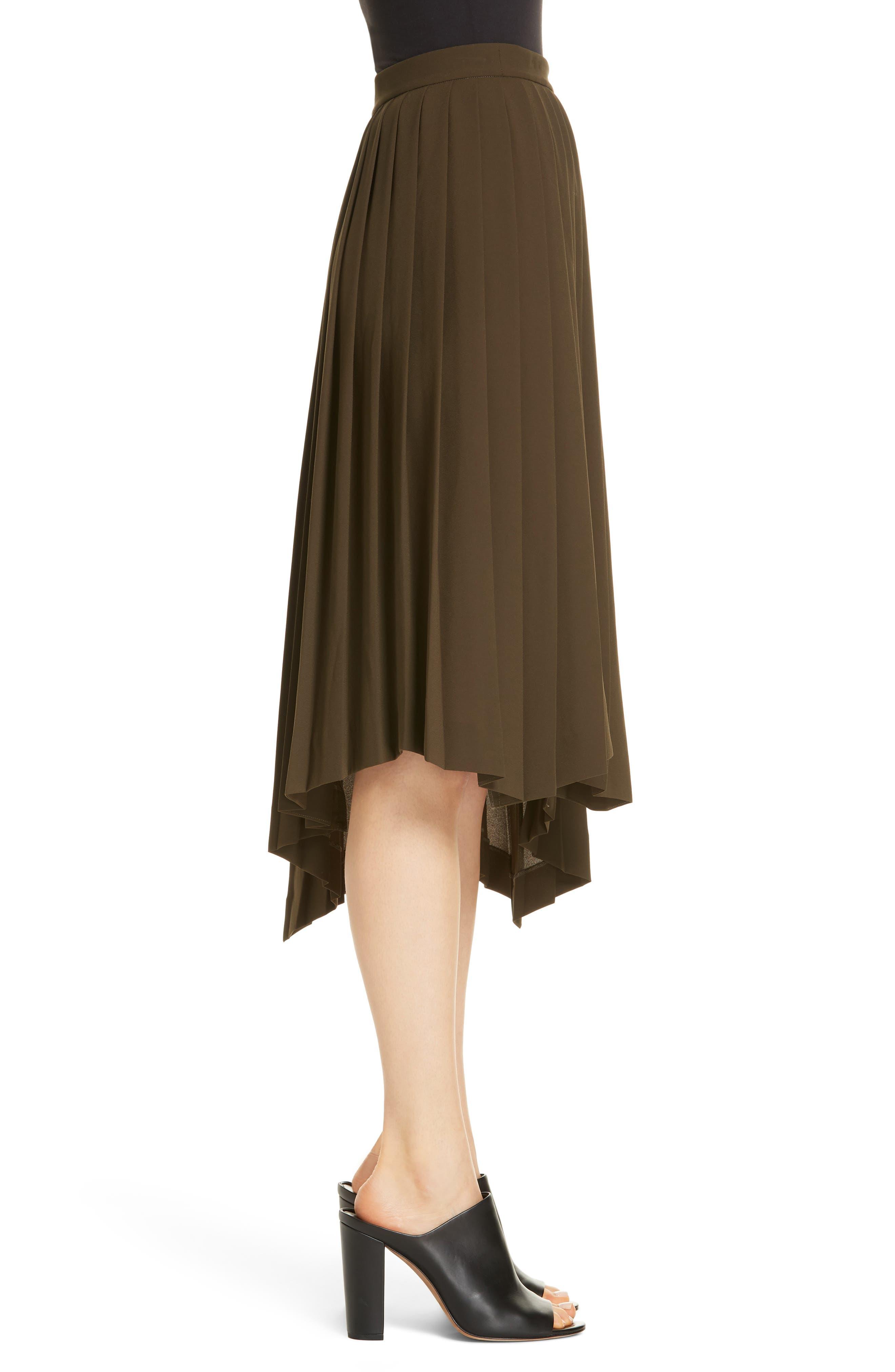 Asymmetrical Pleat A-Line Skirt,                             Alternate thumbnail 3, color,                             OLIVE TUSCAN