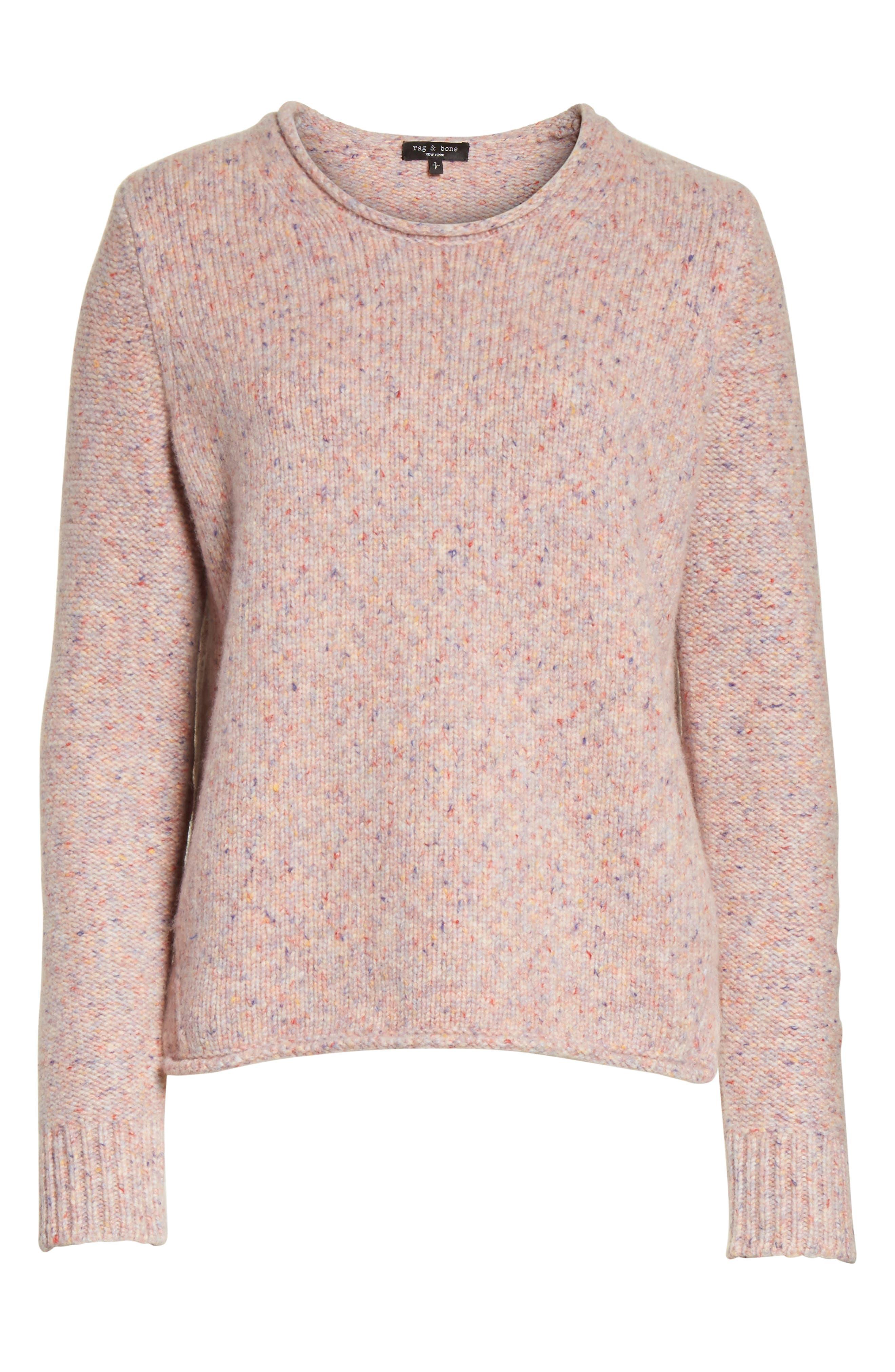 Francie Suede Trim Wool Blend Sweater,                             Alternate thumbnail 6, color,                             691