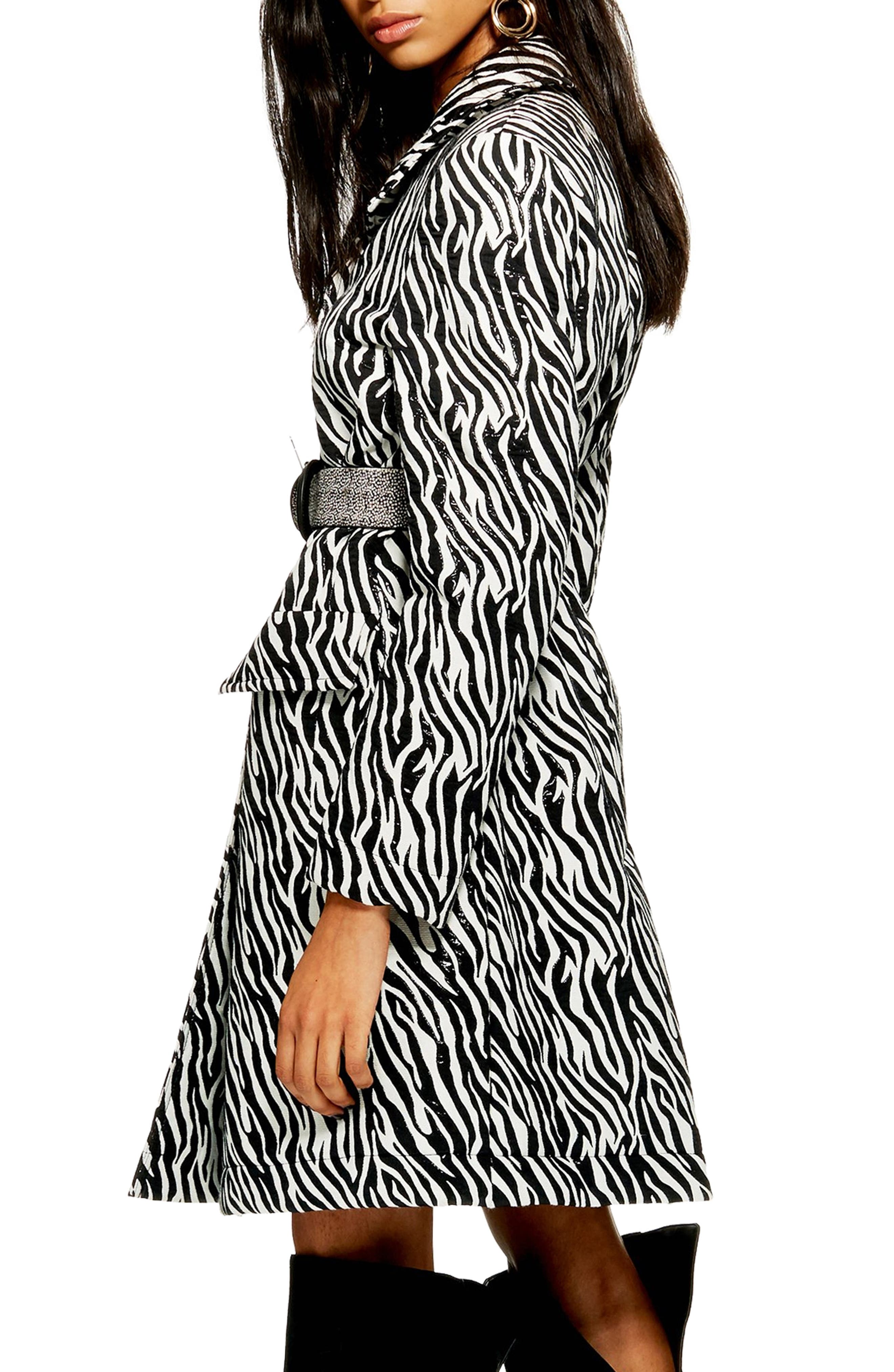 Zebra Print Coat,                             Alternate thumbnail 2, color,                             BLACK MULTI
