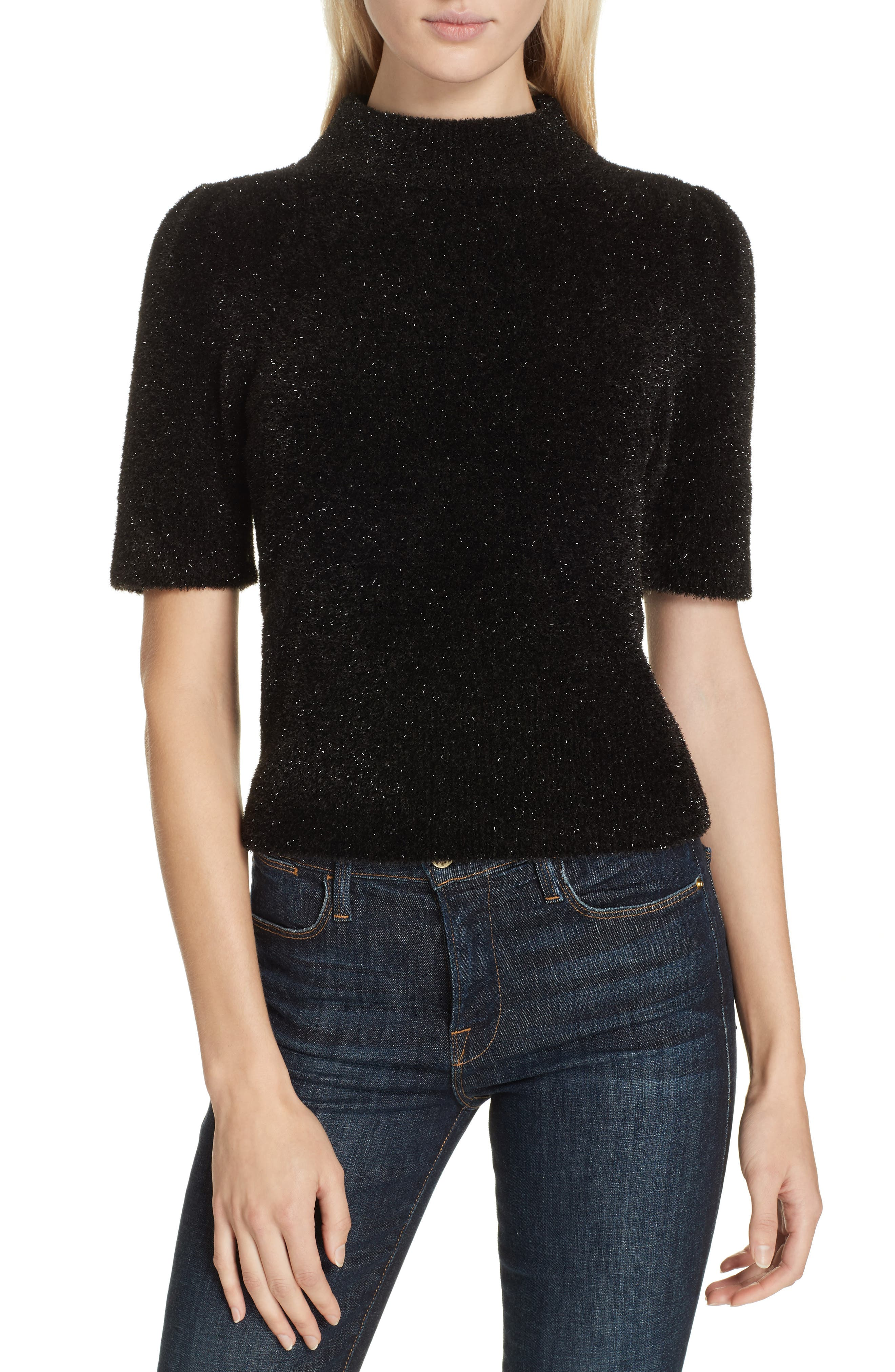metallic fuzzy sweater,                         Main,                         color, BLACK
