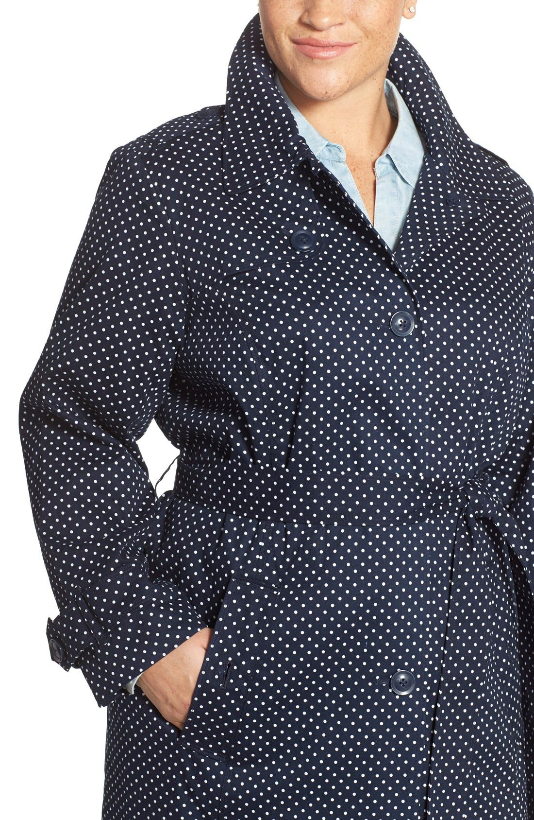 Polka Dot Single Breasted Trench Coat,                             Alternate thumbnail 12, color,                             410