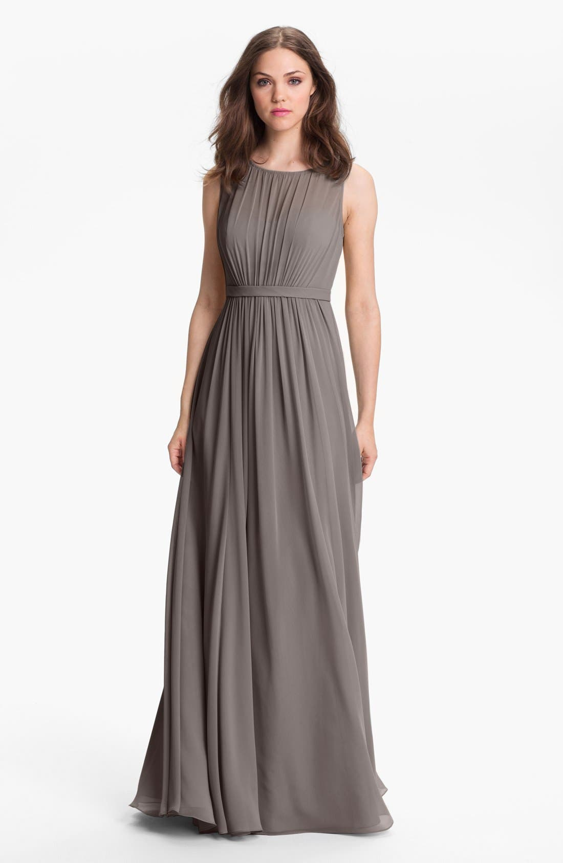 Vivienne Pleated Chiffon Gown,                             Main thumbnail 2, color,