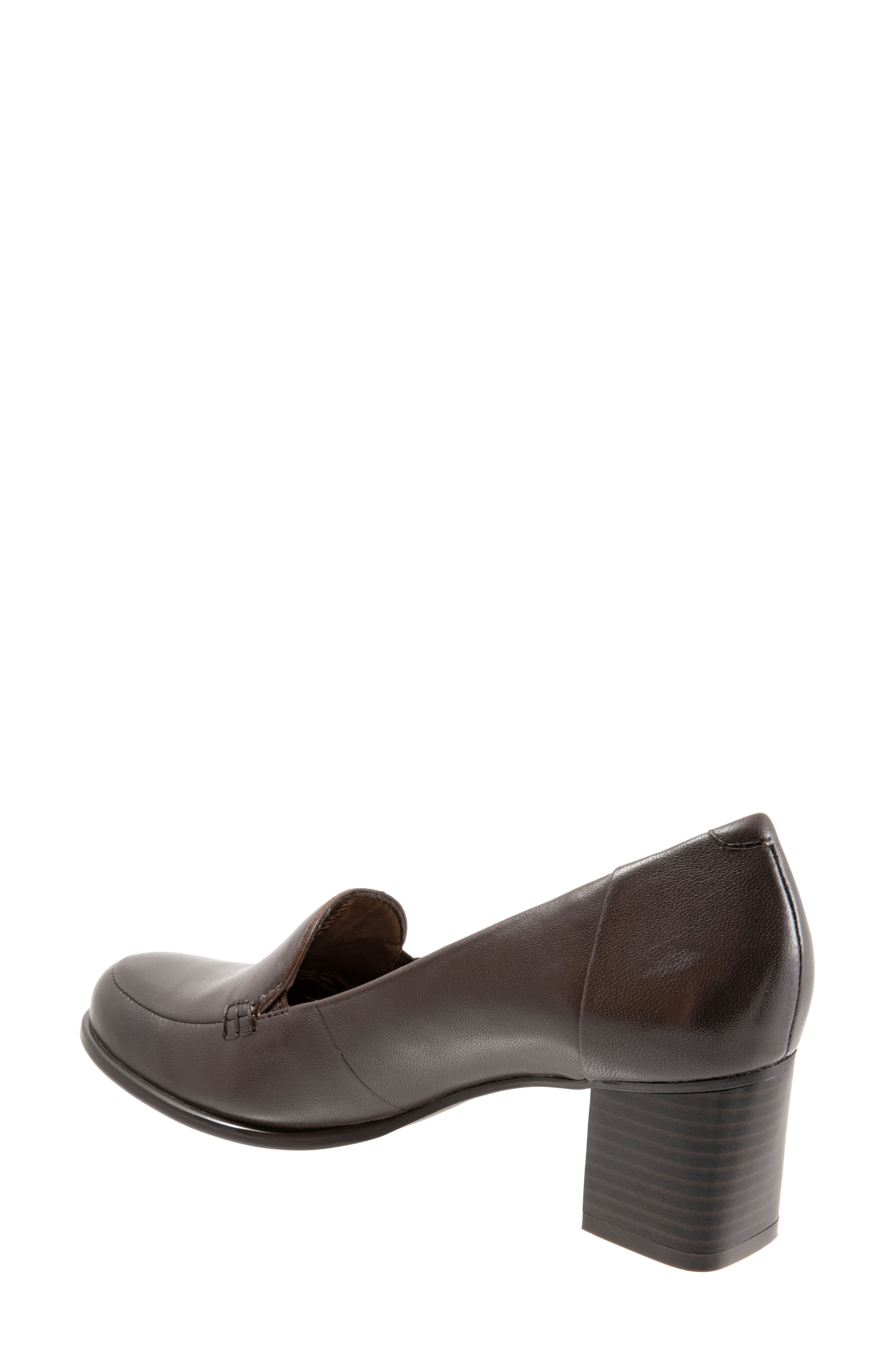Quincy Loafer Pump,                             Alternate thumbnail 2, color,                             DARK BROWN LEATHER