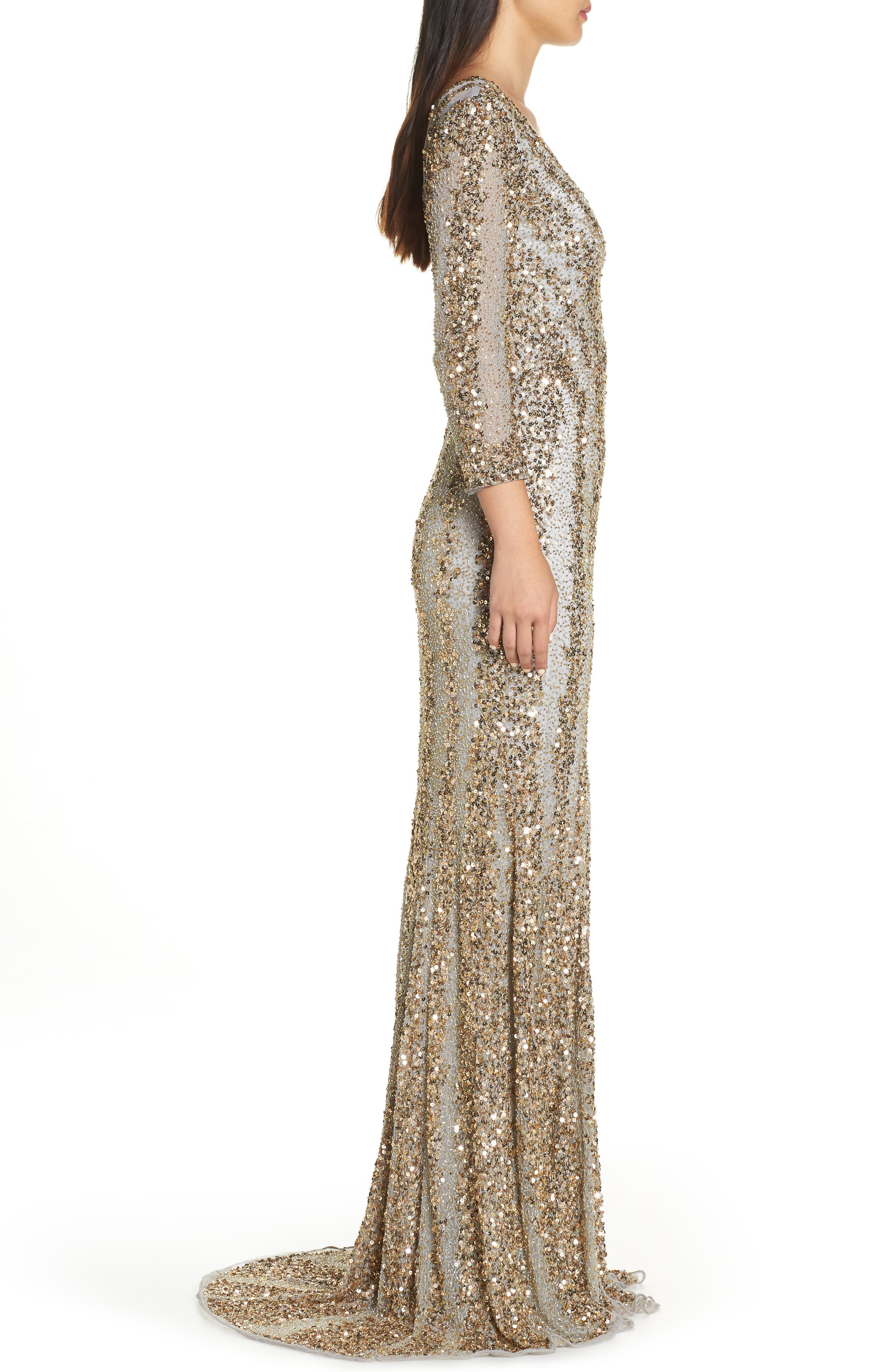 Sequin Gown,                             Alternate thumbnail 3, color,                             NUDE/ PLATINUM
