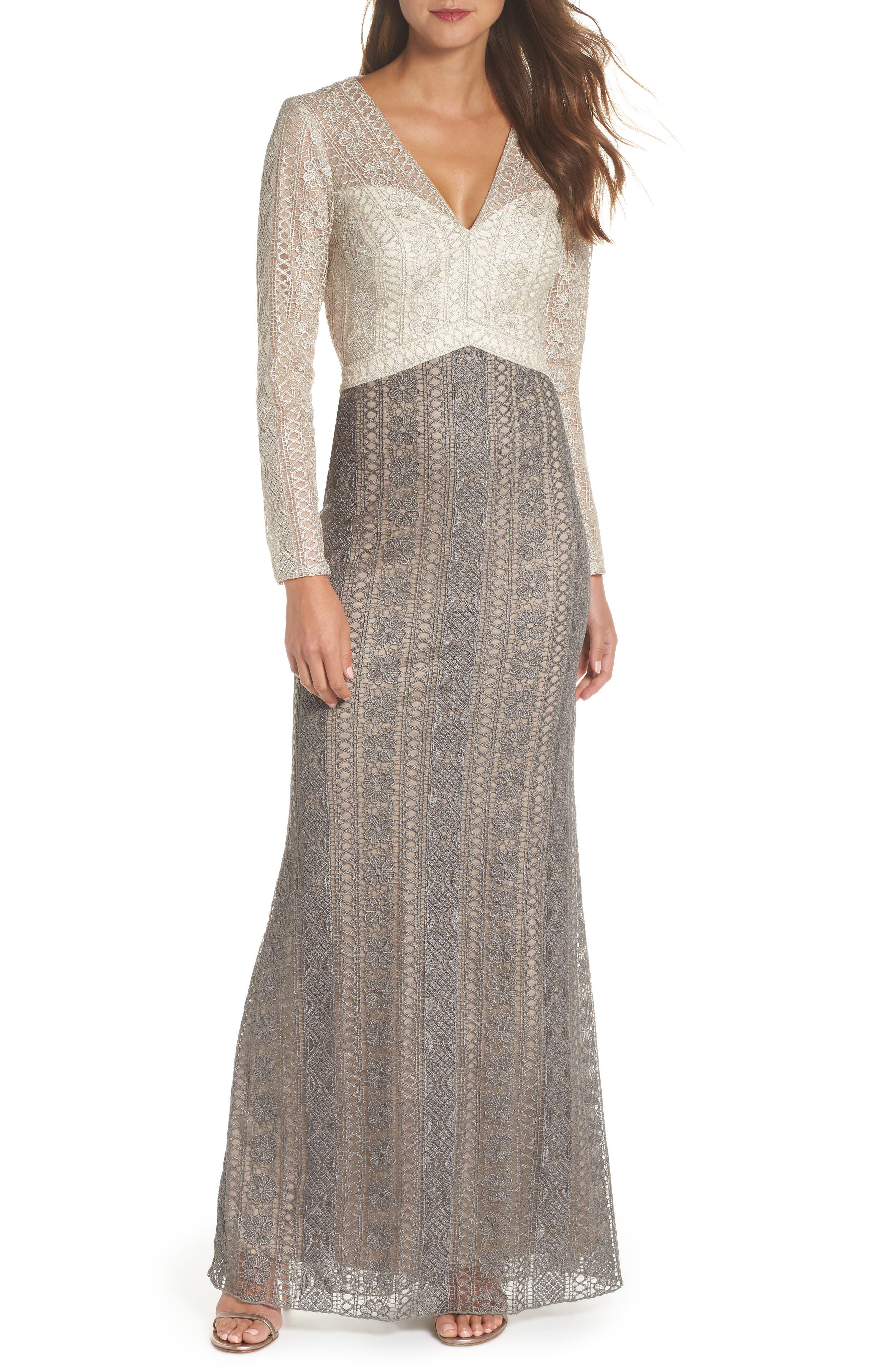 Tadashi Shoji Lace Gown, Grey