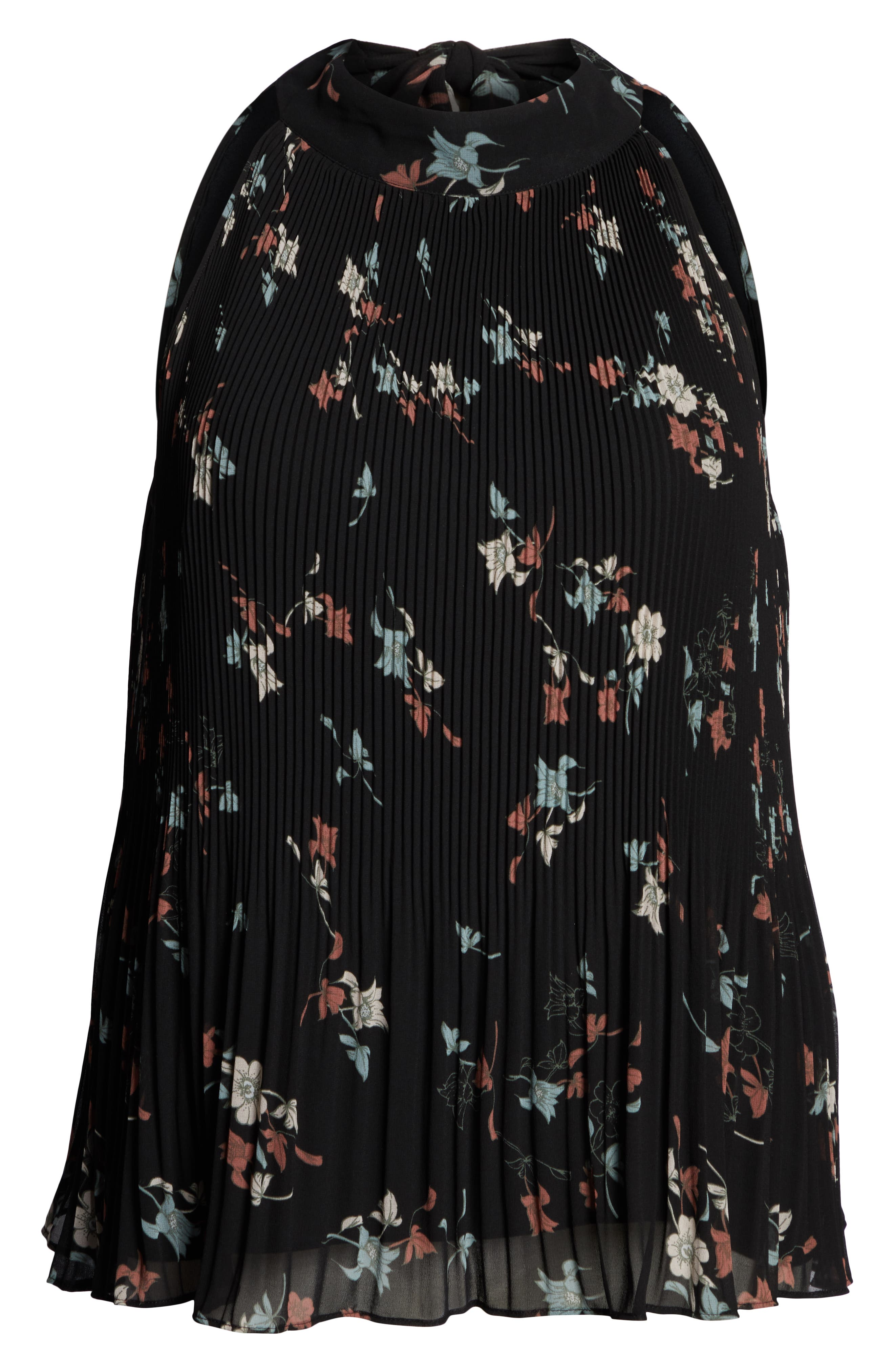 Floral Belle Pleated Tank,                             Alternate thumbnail 6, color,                             RED BLACK BLUSH
